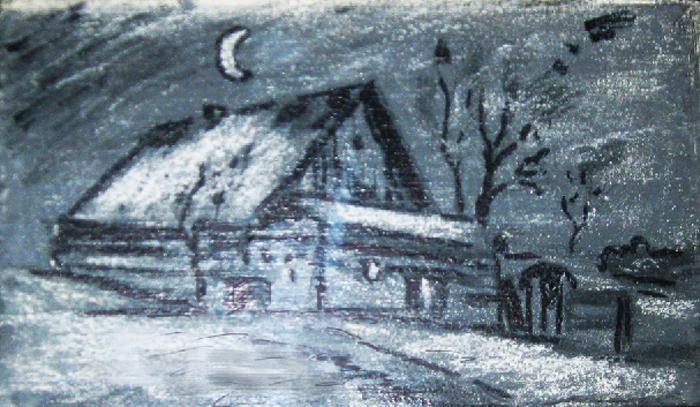 Картина Зимняя ночь, смешанная техника, грунтованный картон, пастель, 40х25 см, автор Светлана Сергеева1515Картина Зимняя ночь - это небольшая графичная работа. Она прекрасно будет смотреться в кабинете или библиотеке. Будет напоминать одну из иллюстраций прочитанных сказочных книг. Используется тонированный картон, пастель, мел, фломастеры. Картину рекомендуется оформлять в раму под стекло. картон, пастель Внимание!!! Так как это ручная работа, рисунок может слегка отличаться от представленного на фото образца.