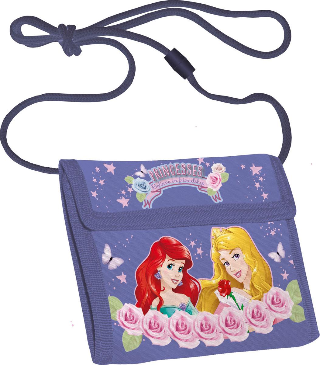 Кошелек детский Disney Princess, цвет: сиреневыйBM8434-58AEЯркий детский кошелек Disney Princess выполнен из полиэстера и оформлен красочным рисунком. Внутри кошелек оснащен отделением для денежных купюр и карманом на застежке-молнии. Кошелек складывается втрое и закрывается широким клапаном на липучку. На внутренней стороне предусмотрен шнурок, с помощью которого изделие можно носить через плечо или на шее.Кошелек Disney Princess станет надежным спутником для вашего ребенка!