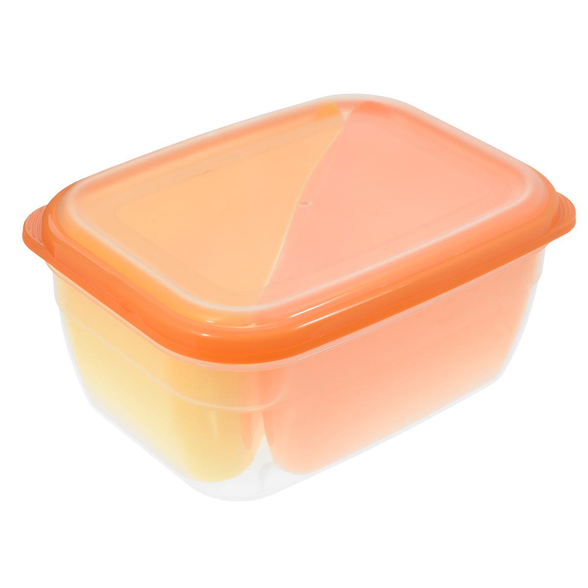 Контейнер-менажница для СВЧ Полимербыт, цвет: оранжевый, желтый, 1,8 л391602Контейнер-менажница для СВЧ Полимербыт изготовлен из высококачественного прочного пластика, устойчивого к высоким температурам (до +120°С). Крышка плотно закрывается, дольше сохраняя продукты свежими и вкусными. Контейнер снабжен 2 цветными съемными секциями, которые позволяют хранить сразу несколько продуктов или блюд. Он идеально подходит для хранения пищи, его удобно брать с собой на работу, учебу, пикник или просто использовать для хранения пищи в холодильнике.Можно использовать в микроволновой печи и для заморозки в морозильной камере. Можно мыть в посудомоечной машине. Объем секции: 0,75 л.Размер секции: 15 см х 11 см х 8 см.Объем контейнера: 1,8 л.Размер контейнера: 20 см х 14,5 см х 8,5 см.