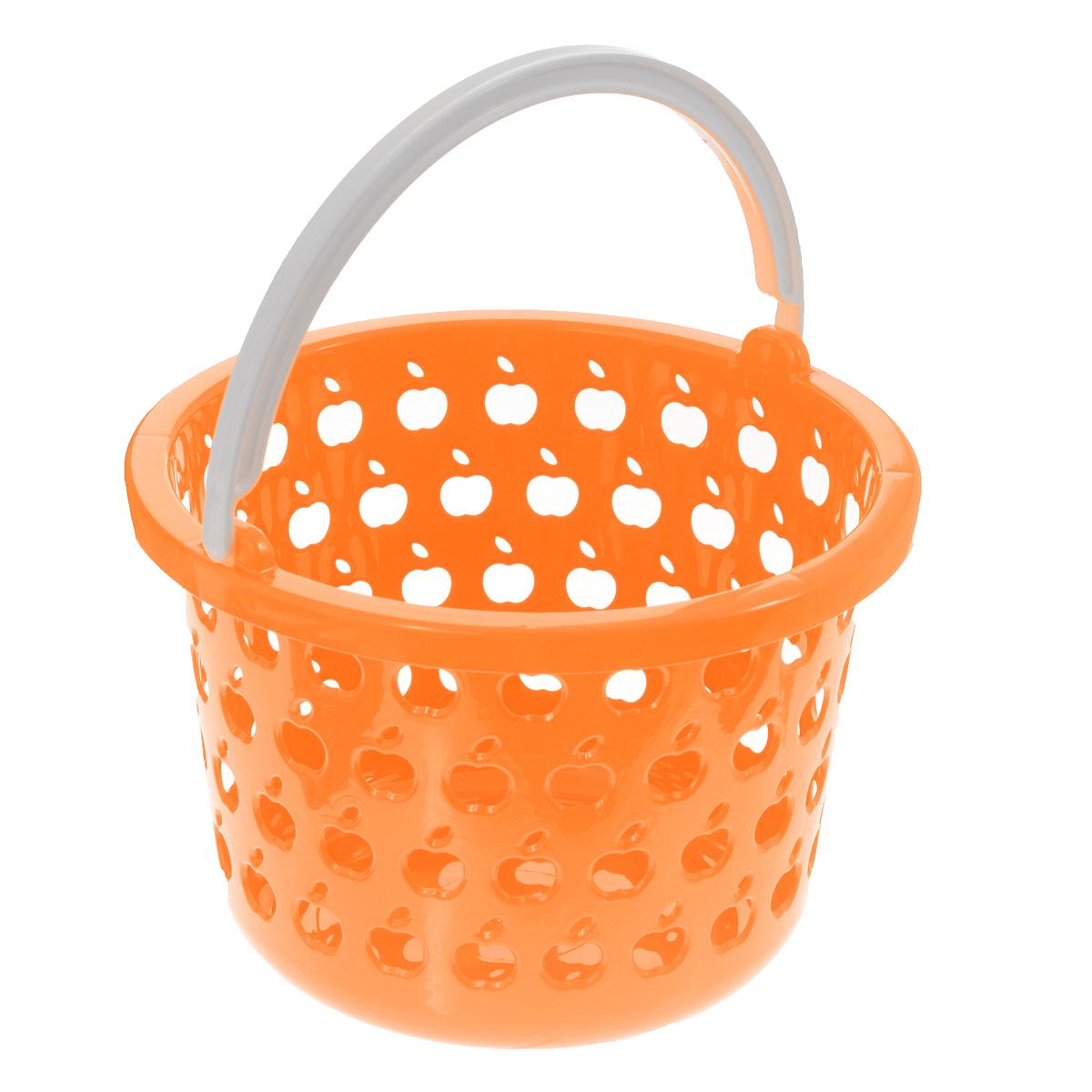 Корзина Полимербыт Стайл, цвет: оранжевый, 2,2 лС831Круглая корзина Полимербыт Стайл изготовлена из высококачественного цветного пластика и декорирована перфорацией в виде яблок. Она предназначена для хранения различных мелочей дома или на даче. Для удобства переноски имеется специальная ручка. Позволяет хранить мелкие вещи, исключая возможность их потери. Корзина очень вместительная. Элегантный выдержанный дизайн позволяет органично вписаться в ваш интерьер и стать его элементом.Диаметр: 18,5 см.Высота: 12,5 см.