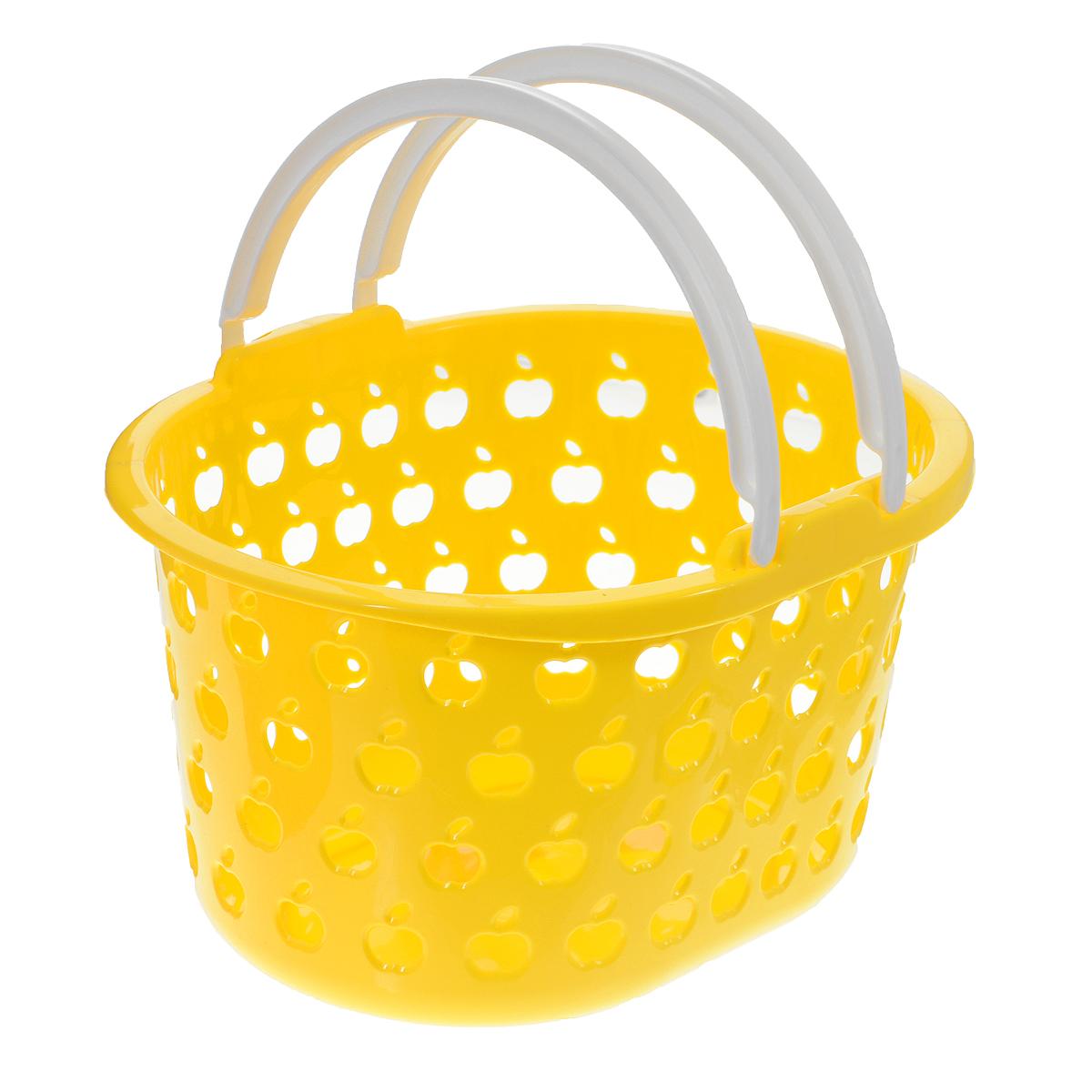 Корзина Полимербыт Стайл, цвет: желтый, белый, 3,2 лFD-59Овальная корзина Полимербыт Стайл изготовлена из высококачественного цветного пластика и декорирована перфорацией в виде яблок. Она предназначена для хранения различных мелочей дома или на даче. Для удобства переноски имеются две ручки. Позволяет хранить мелкие вещи, исключая возможность их потери. Корзина очень вместительная. Элегантный выдержанный дизайн позволяет органично вписаться в ваш интерьер и стать его элементом.