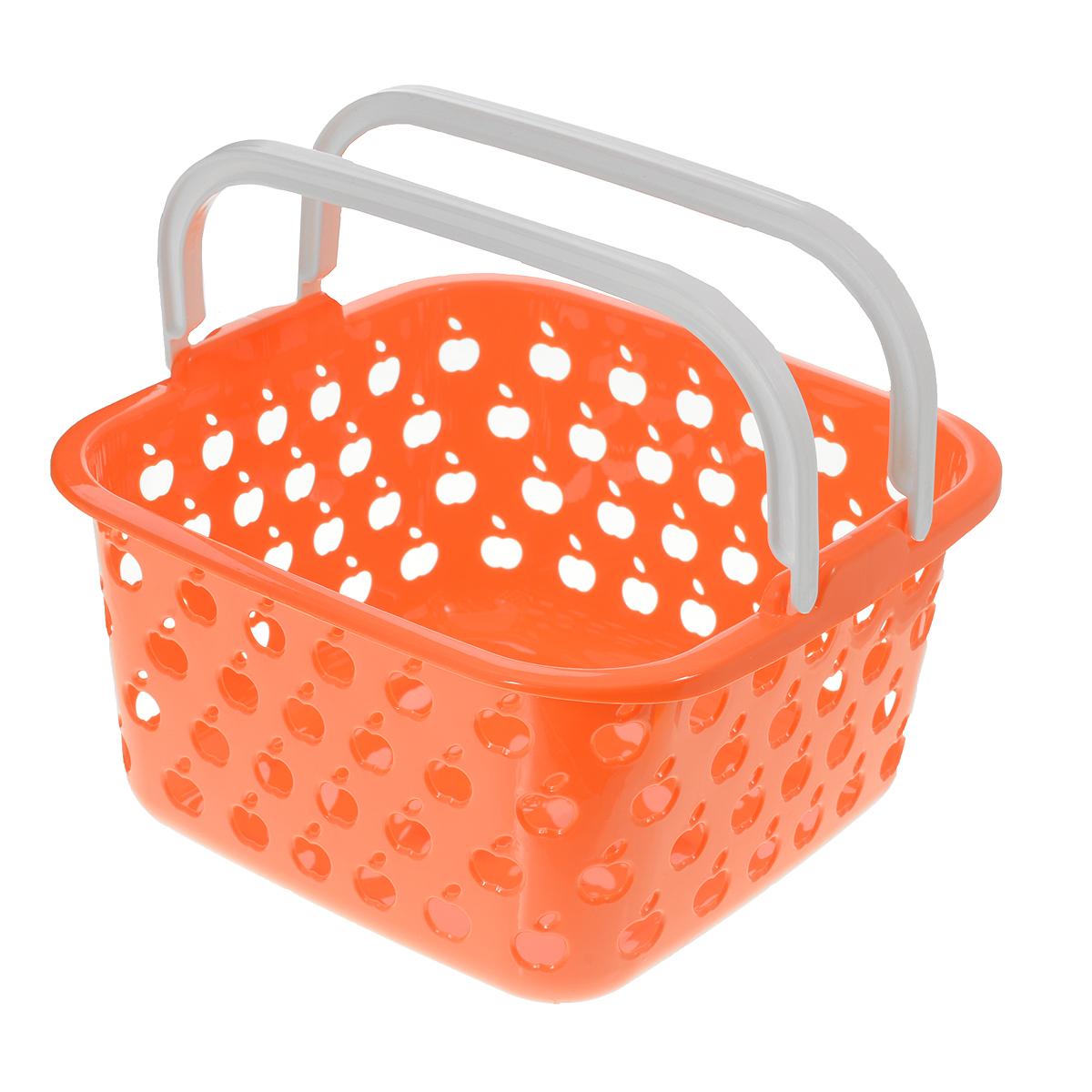 Корзина Полимербыт Стайл, цвет: оранжевый, 4 л21395599Квадратная корзина Полимербыт Стайл изготовлена из высококачественного цветного пластика и декорирована перфорацией в виде яблок. Она предназначена для хранения различных мелочей дома или на даче. Для удобства переноски имеется специальная ручка. Позволяет хранить мелкие вещи, исключая возможность их потери. Корзина очень вместительная. Элегантный выдержанный дизайн позволяет органично вписаться в ваш интерьер и стать его элементом.