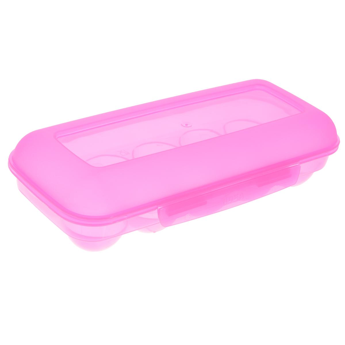 Контейнер для яиц Idea, на 10 шт, цвет: розовый, 26,5 см х 11,5 см х 6,5 смМ 1209Контейнер для яиц Idea выполнен из пластика и снабжен специальными ячейками для 10 яиц. Надежный защелкивающийся замок предотвратит случайное раскрытие контейнера. Он не занимает много места, что очень удобно при транспортировке и хранении. Размер контейнера: 26,5 см х 11,5 см х 6,5 см. Диаметр ячейки: 4,3 см.