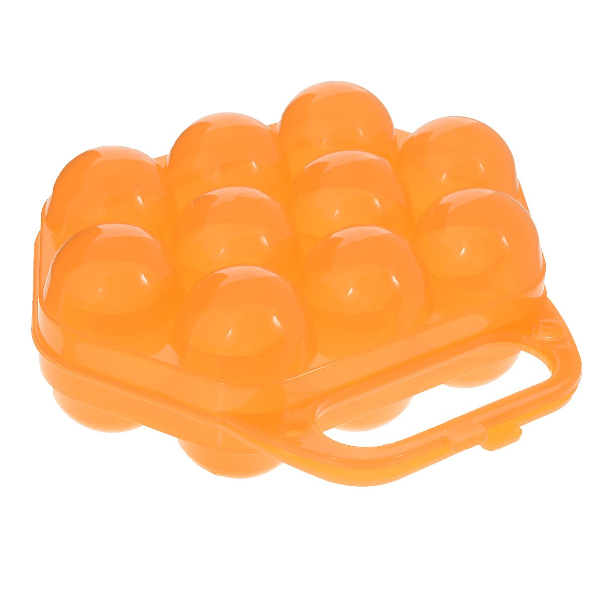 Контейнер для яиц Idea, на 10 шт, цвет: прозрачный оранжевый, 20 х 19 х 7,5 смVT-1520(SR)Контейнер Idea, изготовленный из пищевого пластика, выполнен в виде чемоданчика и снабжен специальными ячейками для 10 яиц. Надежный защелкивающийся замок предотвратит случайное раскрытие контейнера. Изделие не занимает много места, что очень удобно при транспортировке и хранении. Размер контейнера: 20 х 19 х 7,5 см. Диаметр ячейки: 4,3 см.