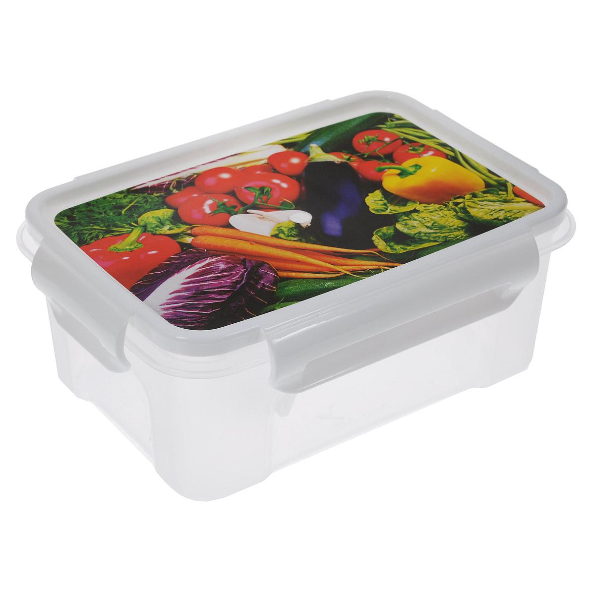 Контейнер Полимербыт Лок декор, 750 млVT-1520(SR)Контейнер Полимербыт Лок декор прямоугольной формы, изготовленный из прочного пластика, предназначен специально для хранения пищевых продуктов. Крышка, декорированная изображением овощей, легко открывается и плотно закрывается.Контейнер устойчив к воздействию масел и жиров, легко моется. Прозрачные стенки позволяют видеть содержимое. Контейнер имеет возможность хранения продуктов глубокой заморозки, обладает высокой прочностью. Можно мыть в посудомоечной машине. Подходит для использования в микроволновых печах.