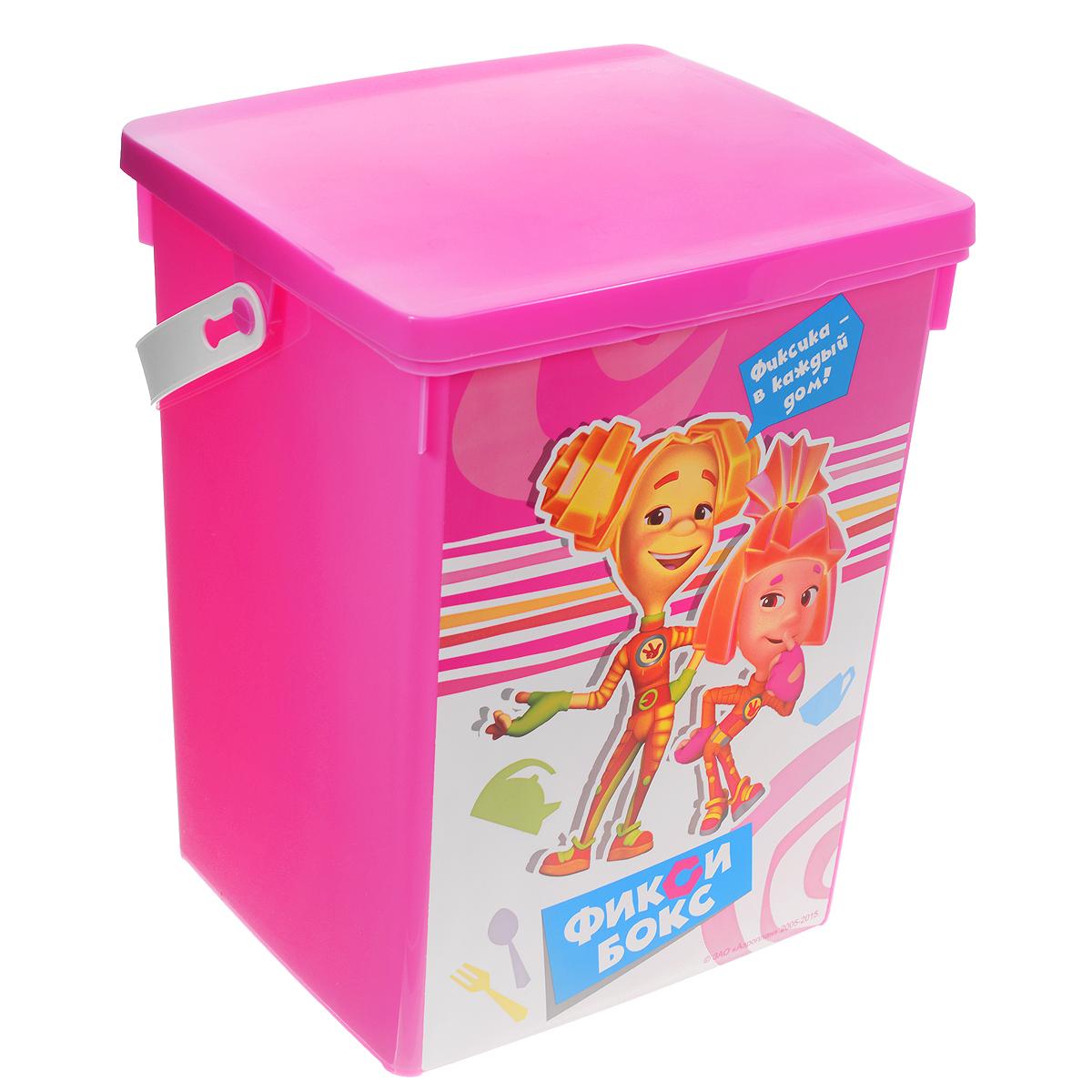 Контейнер для игрушек Полимербыт Фиксики, цвет: розовый, 5 л1004900000360Контейнер Полимербыт Фиксики выполнен из высококачественного цветного пластика и предназначен для хранения небольших игрушек. Контейнер декорирован красочным изображением героев одноименного мультика Фиксики. Для удобства переноски имеется специальная пластиковая ручка. Контейнер плотно закрывается крышкой. Контейнер Полимербыт Фиксики очень вместителен и поможет вам хранить все необходимые мелочи в одном месте.