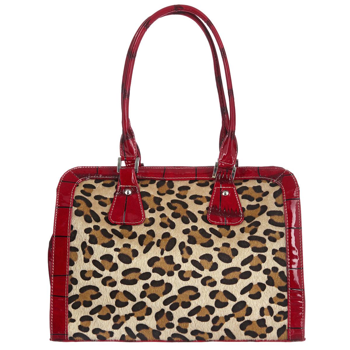 Сумка женская Antan, цвет: красный, коричневый, бежевый. 766 В4106черныеОригинальна сумка Antan выполнена из искусственной лакированной кожи с тиснением под рептилию, декорирована вставкой из искусственного меха с оригинальной леопардовой расцветкой. Модель имеет одно главное отделение, закрывающееся на застежку-молнию. Внутри расположен врезной карман, закрывающийся на застежку-молнию, и два накладных кармана для телефона и мелочей. На тыльной стороне сумки имеется врезной карман на молнии. Сумка оснащена двумя удобными ручками, позволяющими носить ее и в руках, и на плече.Модная сумка подчеркнет ваш яркий стиль и сделает образ оригинальным и завершенным.