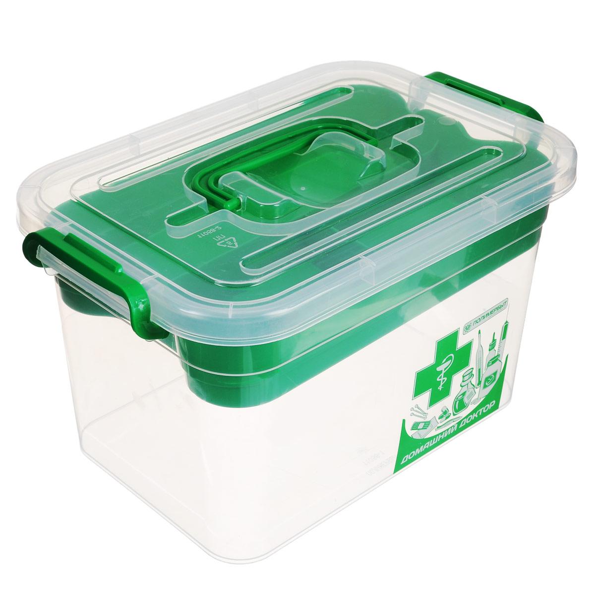 Контейнер для аптечки Полимербыт Домашний доктор, с вкладышем, цвет: зеленый, 6,5 л16050Контейнер Полимербыт Домашний доктор выполнен из прозрачного пластика. Для удобства переноски сверху имеется ручка. Внутрь вставляется цветной вкладыш с тремя отделениями. Контейнер плотно закрывается крышкой с защелками. Контейнер для аптечки Полимербыт Домашний доктор очень вместителен и поможет вам хранить все лекарства в одном месте.