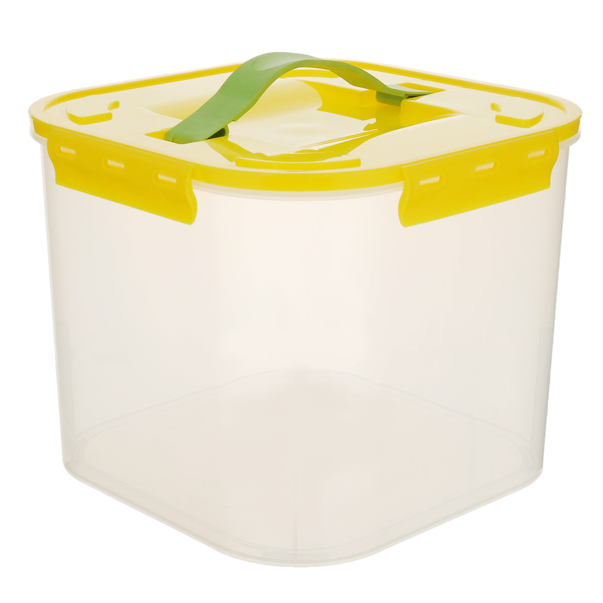 Контейнер для хранения Idea, цвет: желтый, прозрачный, 7 лRG-D31SКонтейнер для хранения Idea выполнен из прозрачного пластика. Контейнер идеально подойдет для хранения пищевых продуктов, а также любых мелких бытовых предметов: канцелярии, принадлежностей для шитья и т.д. Контейнер плотно закрывается цветной крышкой с 4 защелками. Для удобства переноски сверху имеется ручка, выполненная из термоэластопласта. Контейнер Idea очень вместителен, он пригодится в любом хозяйстве.