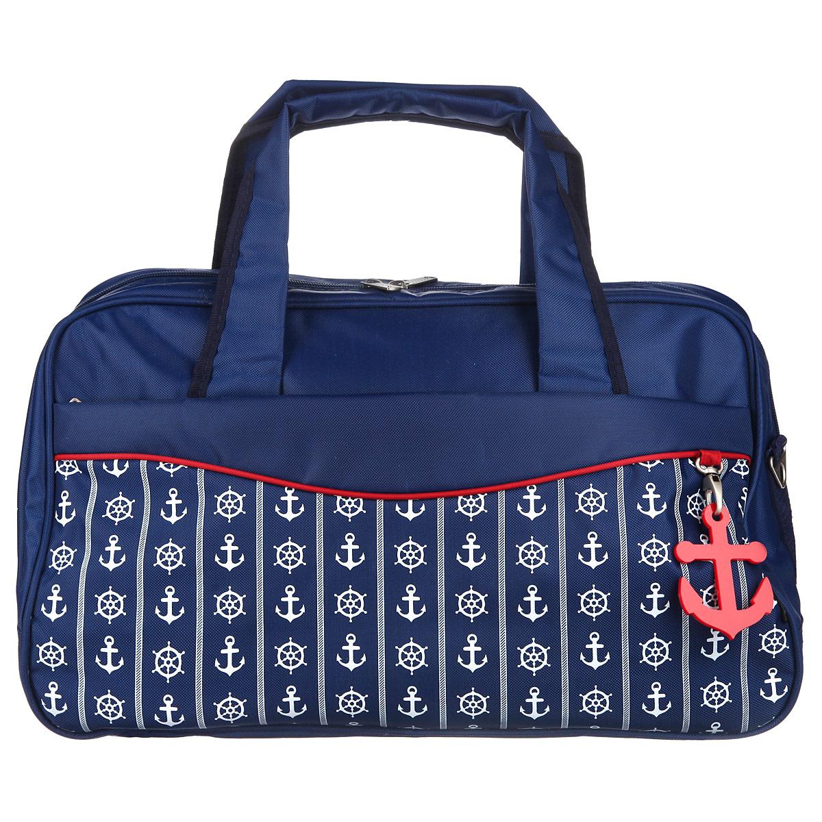 Сумка дорожная Antan Морской стиль, цвет: темно-синий. 2-4MMW-1462-01-SR серебристыйСтильная дорожная сумка Antan Морской стиль выполнена из высококачественного материала и украшена декоративным элементом в виде якоря. Состоит сумка из одного большого отделения, закрывающегося на пластиковую застежку-молнию, внутри которого расположены прорезной карман на молнии и два накладных кармана, предназначенных для телефона и мелочей. С внешней стороны предусмотрены два больших прорезных кармана на застежках-молниях. Изделие оснащено двумя прочными ручками. В комплект входит съемный наплечный ремень, длина которого регулируется пряжкой. Дно изделия уплотнено и дополнено пятью пластиковыми ножками, обеспечивающими дополнительную устойчивость и защиту от загрязнений. Оформлена сумка оригинальным принтом на морскую тематику.Такая сумка идеально подойдет для дальних поездок, в нее можно положить все необходимое.