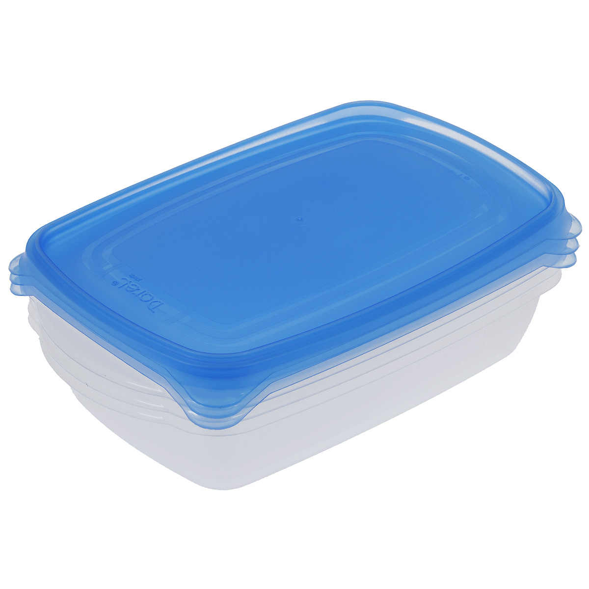 Набор контейнеров Darel, цвет: синий, 1,3 л, 3 штVT-1520(SR)Набор Darel состоит из трех прямоугольных контейнеров. Изделия выполнены из высококачественного пищевого полипропилена. Крышки легко открываются и плотно закрываются с помощью легкого щелчка.Подходят для хранения и транспортировки пищи. Складываются друг в друга, что экономит пространство при хранении в шкафу. Контейнеры подходят для использования в микроволновой печи без крышек, а также для заморозки в морозильной камере. Можно мыть в посудомоечной машине.