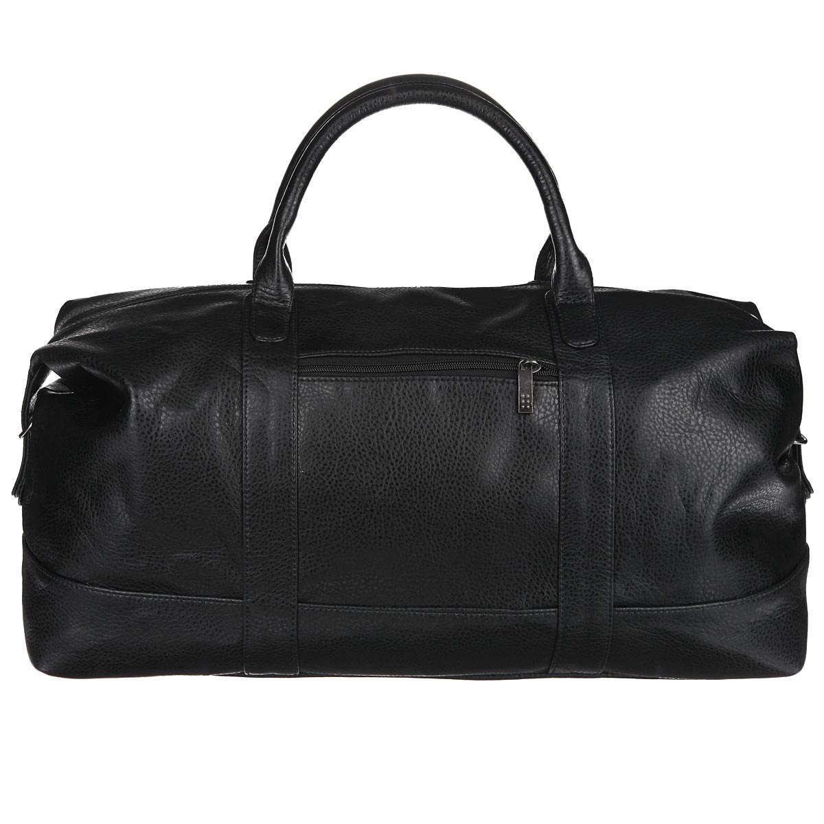 Сумка дорожная Antan, цвет: черный. 2-229 В72614619Вместительная дорожная сумка Antan выполнена из искусственной кожи с фактурной поверхностью.Ручки-жгуты прочно крепятся к корпусу сумки.Сумка имеет одно отделение, закрывающееся на застежку-молнию. Внутри - врезной карман на застежке-молнии. С внешней стороны на передней стенке сумки предусмотрен дополнительный карман на молнии. Сумка оснащена съемным плечевым ремнем регулируемой длины. Дно дополнено пластиковыми ножками, защищающими изделие от повреждений.Такая сумка будет незаменима при походе в спортзал или при дальней поездке.