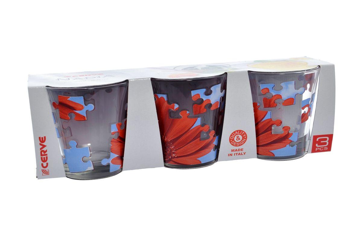 Набор стаканов Cerve Пазл гербера, 250 мл, 3 шт990/20210/0/00000/280-609Набор Cerve Пазл гербера состоит из трех низких стаканов, изготовленных из высококачественного стекла. Внешние стенки оформлены красочным рисунком. Такие стаканы прекрасно подойдут для сока, воды, лимонада и других напитков. Они ярко оформят стол и станут прекрасным дополнением к коллекции вашей кухонной посуды. Можно мыть в посудомоечной машине. Диаметр стакана (по верхнему краю): 8,5 см. Высота стакана: 9 см.