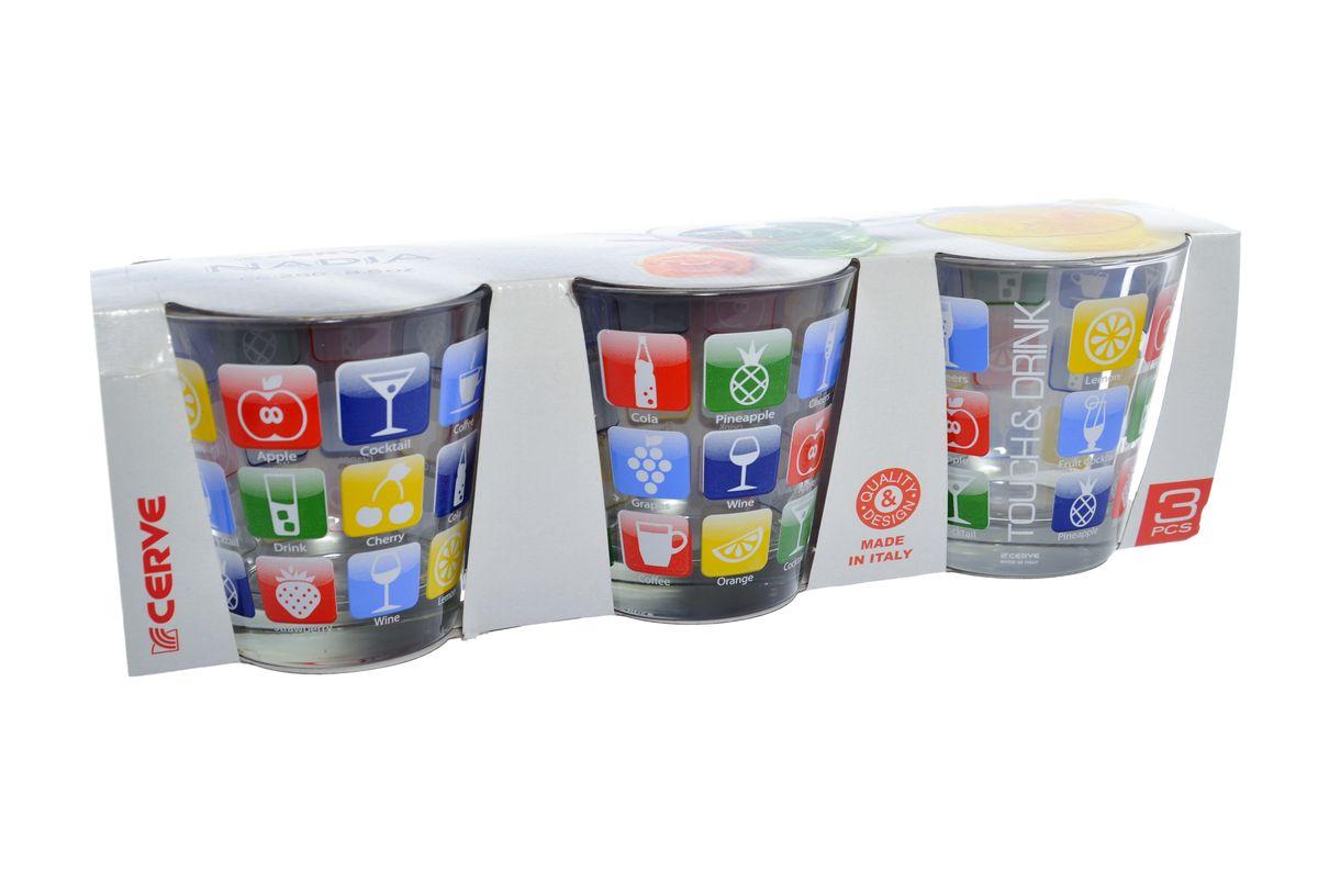 Набор стаканов Cerve Эппл, 250 мл, 3 шт52645B/D2Набор Cerve Эппл состоит из трех низких стаканов, изготовленных из высококачественного стекла. Внешние стенки оформлены красочным рисунком. Такие стаканы прекрасно подойдут для сока, воды, лимонада и других напитков. Они ярко оформят стол и станут прекрасным дополнением к коллекции вашей кухонной посуды. Можно мыть в посудомоечной машине. Диаметр стакана (по верхнему краю): 8,5 см. Высота стакана: 9 см.