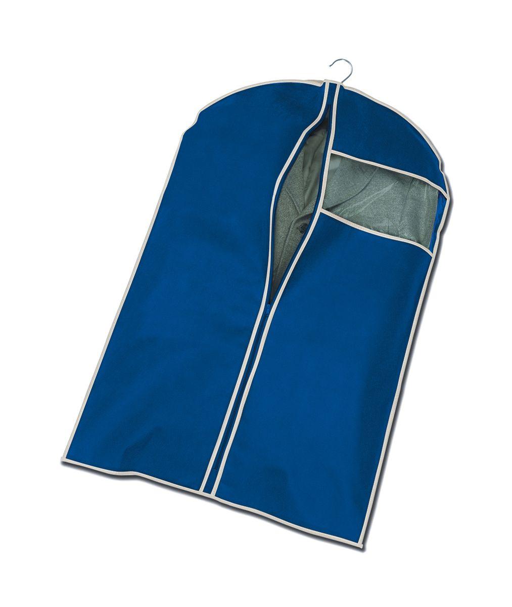 Чехол для пиджака Cosatto, подвесной, цвет: синий, 100 х 60 смС51102Подвесной чехол для пиджака Cosatto изготовлен из высококачественного полипропилена, который обеспечивает естественную вентиляцию, позволяя воздуху проникать внутрь, но не пропускает пыль. Чехол очень удобен в использовании, а благодаря его форме, одежда не мнется даже при длительном хранении. Специальная прозрачная вставка позволяет видеть содержимое внутри чехла, не открывая его. Изделие легко открывается и закрывается застежкой-молнией.Чехол для пиджака будет очень полезен при транспортировке вещей на близкие и дальние расстояния, при длительном хранении сезонной одежды, а также при ежедневном хранении вещей из деликатных тканей.