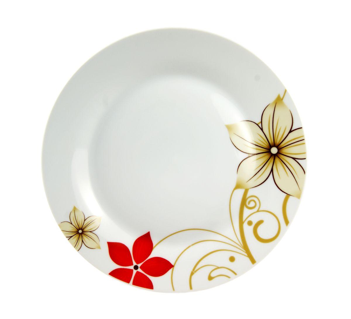 Тарелка десертная Dasen Магнолия, диаметр 19 см54 009312Десертная тарелка Dasen Магнолия, изготовленная из высококачественной керамики, предназначена для красивой подачи различных блюд. Изделие декорировано изящным рисунком цветов и имеет изысканный внешний вид.Такая тарелка украсит сервировку стола и подчеркнет прекрасный вкус хозяйки.Можно мыть в посудомоечной машине и использовать в микроволновой печи. Диаметр: 19 см.Высота: 1,5 см.