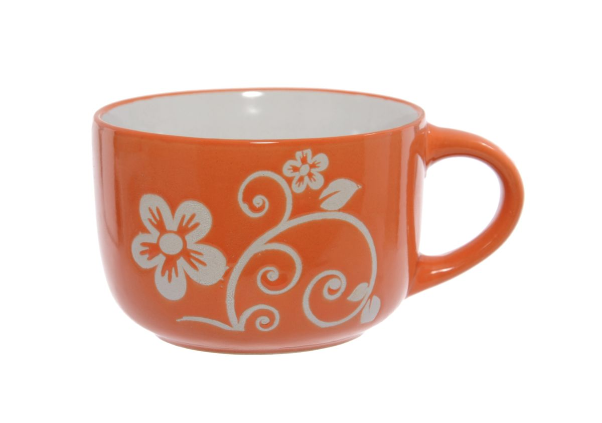 Чашка Wing Star, цвет: оранжевый, белый, 460 мл. LJ2136-3226115510Чашка Wing Star изготовлена из керамики и украшена цветочным принтом. Wing Star - качественная керамическая посуда из обожженной, глазурованной снаружи и изнутри глины с оригинальными рисунками. При изготовлении данной посуды широко используется рельефный способ нанесения декора, когда рельефная поверхность подготавливается в процессе формовки и изделие обрабатывается с уже готовым декором. Благодаря этому достигается эффект неровного на ощупь рисунка, как бы утопленного внутрь глазури и являющегося его естественным элементом. Чашку можно использовать в СВЧ и мыть в посудомоечной машине.Диаметр (по верхнему краю): 11 см.Высота стенки: 7,5 см.Объем чашки: 460 мл.