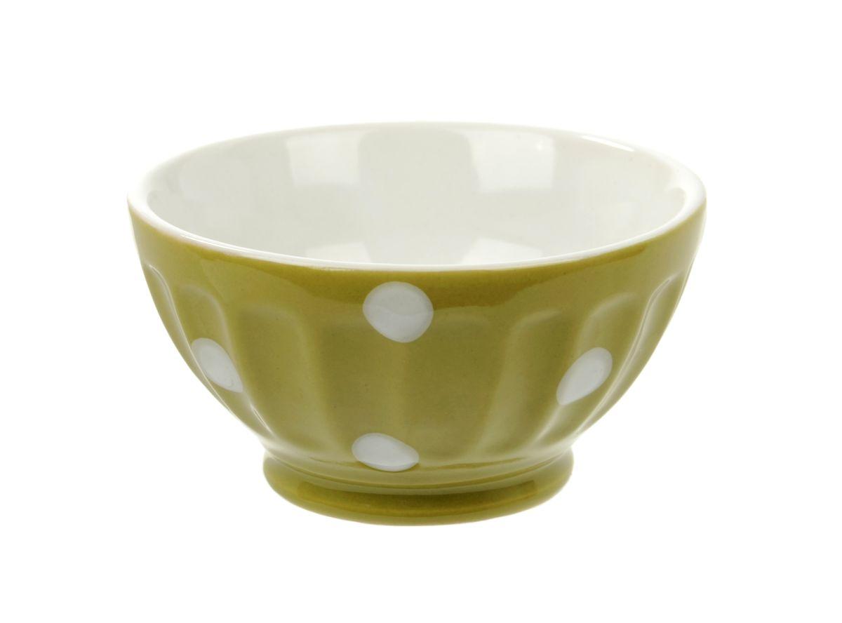 Салатница Kaiwei Веселый горошек, цвет: зеленый, белый, 150 мл115510Салатница Kaiwei Веселый горошек изготовлена из высококачественной керамики и покрыта цветной глазурью. Глазурь - это кремнеземное стекло, которое, будучи расплавленным при очень высоких температурах в специальных печах для обжига изделий, создает на глине равномерную гладкую прозрачную поверхность. Именно благодаря ей пористая керамика обретает водонепроницаемость. Кроме того, глазурь предохраняет керамические изделия от загрязнения, действия кислот и щелочей и придаёт изделиям декоративные свойства.Можно использовать в микроволновой печи и посудомоечной машине. Объем: 150 мл.Диаметр салатницы (по верхнему краю): 9 см. Высота стенки: 5 см.