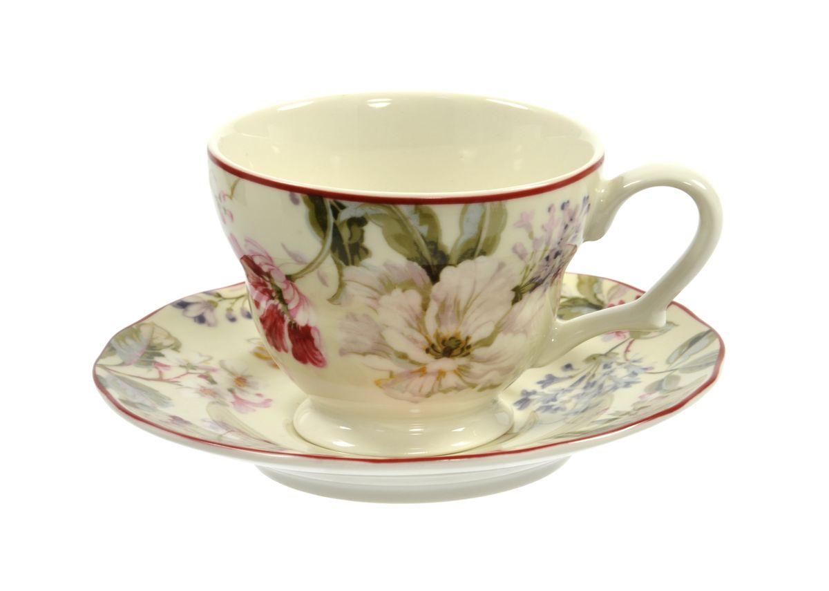 Чашка с блюдцем Utana Жизела, 200 мл115510Чашка с блюдцем Utana Жизела изготовлены из высококачественной керамики и декорированы оригинальным рисунком. Они прекрасно подойдут для вашей кухни и великолепно украсят стол.Изящный дизайн и красочность оформления чашки и блюдца придутся по вкусу и ценителям классики, и тем, кто предпочитает утонченность и изысканность. Можно использовать в посудомоечной машине и СВЧ. Объем кружки: 200 мл.Диметр кружки по верхнему краю: 9 см.Высота кружки: 7 см.Диаметр блюдца: 15 см.