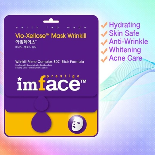 IMFACE маска для лица от морщин Vio-Xellose Mask Wrinkill 23 млFS-00897Антивозрастной уход, разглаживание морщин, придание упругости и эластичности коже.