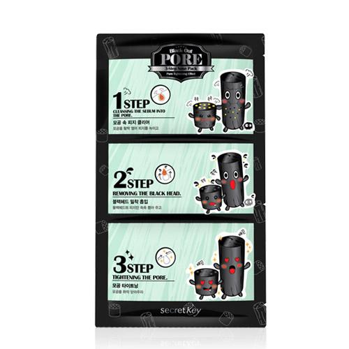 Secret Key 3х шаговая система удаления черных точек Black Out Pore 3-Step Nose PackFS-00897Комплексный набор для глубокого очищения кожи от черных точек на носу, эффективно борется с расширенными порами, очищает от загрязнений исужает их. Набор состоит из 3 патчей, каждый из них имеет свои функции: шаг 1 — патч для раскрытия пор. Открывает поры и размягчает их содержимое. Шаг 2 — патч для очищения пор. Эффективно освобождает поры от загрязнений и имеет антисептическое действие. Шаг 3 — патч для сужения пор. Сужает поры и успакаивает кожу.
