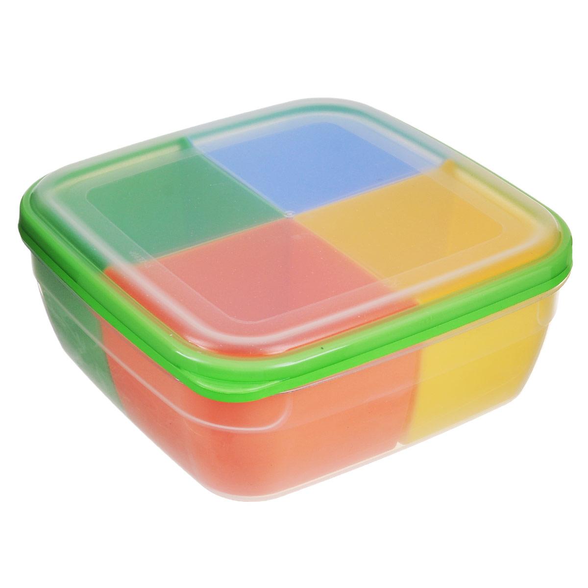 Контейнер-менажница для СВЧ Полимербыт, с крышкой, цвет: прозрачный, зеленый, голубой, 2,2 лVT-1520(SR)Контейнер-менажница для СВЧ Полимербыт изготовлен из высококачественного прочного пластика, устойчивого к высоким температурам (до +120°С). Крышка плотно закрывается, дольше сохраняя продукты свежими и вкусными. Контейнер снабжен 4 цветными съемными секциями, которые позволяют хранить сразу несколько продуктов или блюд. Он идеально подходит для хранения пищи, его удобно брать с собой на работу, учебу, пикник или просто использовать для хранения пищи в холодильнике.Можно использовать в микроволновой печи и для заморозки в морозильной камере. Можно мыть в посудомоечной машине. Размер секции: 9 х 9 х 7 см.