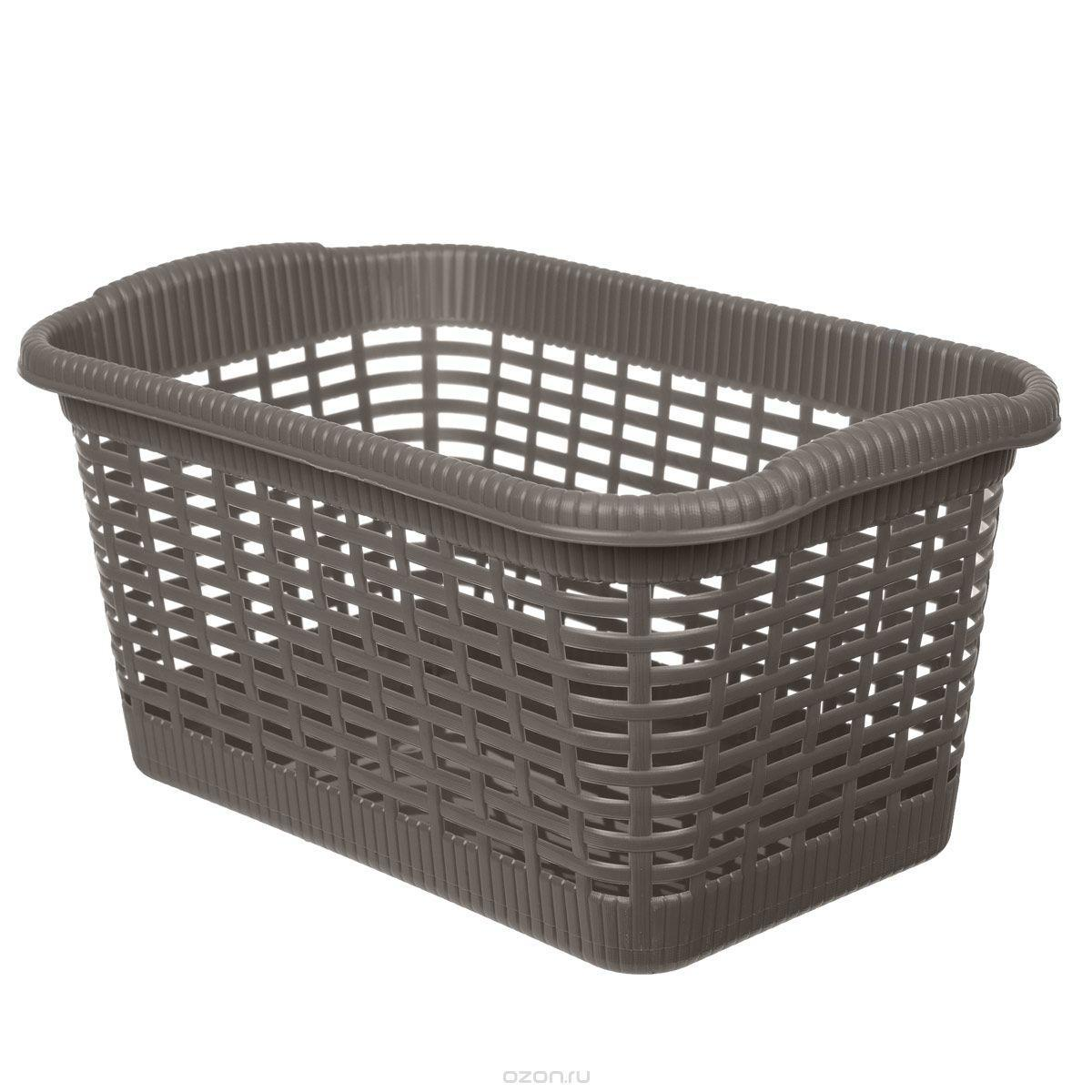 Корзина хозяйственная 43x32x25 см, 20 л коричневыйCLP446Универсальная корзина «Gensini», выполненная из пластика, предназначена для хранения мелочей в ванной, на кухне, даче или гараже. Позволяет хранить мелкие вещи, исключая возможность их потери. Легкая воздушная корзина выполнена «под плетенку» и оснащена жесткой кромкой.