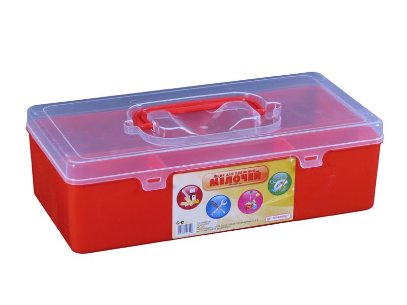 Ящик для мелочей Полимербыт, цвет: красный, 28,4 см х 14,4 см х 8,5 смCLP446Ящик Полимербыт, выполненный из прочного пластика, предназначен для хранения различных мелких вещей. Внутри имеются 4 отделения различных размеров: большое, среднее и два маленьких. Ящик закрывается при помощи прозрачной крышки, на которой расположена удобная ручка для переноски. Ящик Полимербыт поможет хранить все в одном месте, а также защитить вещи от пыли, грязи и влаги.Размеры отделений:Размер большого отделения: 28,4 см х 9 см х 8,5 см; Размер среднего отделения: 11,3 см х 4,7 см х 8,5 см; Размер малого отделения: 8 см х 4,7 см х 8,5 см.