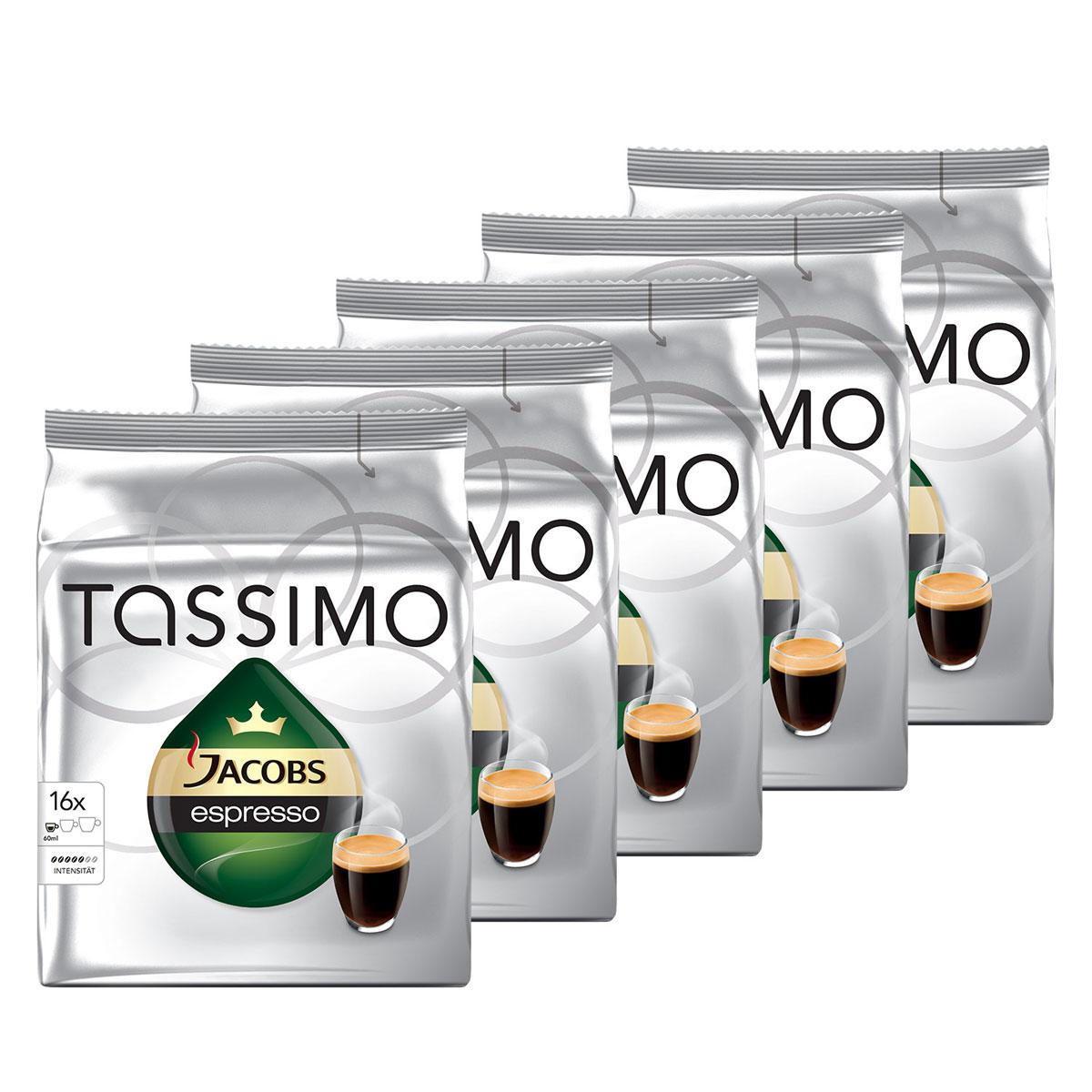 Tassimo Jacobs Espresso кофе в капсулах, 5 пачек8002200602116Насыщенный кофе с интенсивным вкусом и плотной бархатистой пенкой. Позвольте Jacobs — брэнду с вековым опытом немецких производителей кофе — подарить вам крепкий и вместе с тем удивительно гармоничный эспрессо. В каждом Т-Диске Jacobs Monarch содержится точно дозированная порция молотого кофе. Каждый из этих специально разработанных Т-Дисков имеет уникальный штрих-код, который считывается кофемашиной TASSIMO. В этом коде указан объем воды, время приготовления и оптимальная температура, необходимая для получения чашки безупречного напитка.Одна капсула рассчитана на приготовление 60 мл напитка. В каждой упаковке находятся 16 Т-Дисков Jacobs. Общее количество капсул: 80 штук.