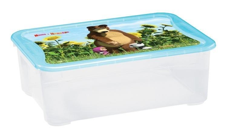 Ящик для игрушек Бытпласт Маша и медведь, 55,5 см х 39 см х 19 смC13794Вместительный легкий ящик с яркой крышкой для хранения игрушек или одежды удобно разместится в комнате ребенка. Ящик для игрушек декорирован с помощью современной технологии, которая позволяет выйти на новый уровень качества, где этикетка и товар выглядят как единое целое. Благодаря данной технологии этикетка надежно держится на изделии, легко переносит контакт с водой, жирами или другими жидкостями, а также устойчива к стиранию и прочим механическим повреждениям, что является немаловажным в быту, при транспортировке или хранении на складах. Ящики легко штабелируются, как с закрытыми крышками, так и без них, что позволяет рационально использовать пространство. Ящик безопасен даже для самых маленьких детей, благодаря своей конструкции с закругленными углами. Помыть ящик не составляет никакого труда — пластик легко моется и вытирается от пыли, что особенно важно, когда ребенок совсем еще маленький. Ящики производятся из экологически чистого сырья — это необходимо для здоровья ребенка.