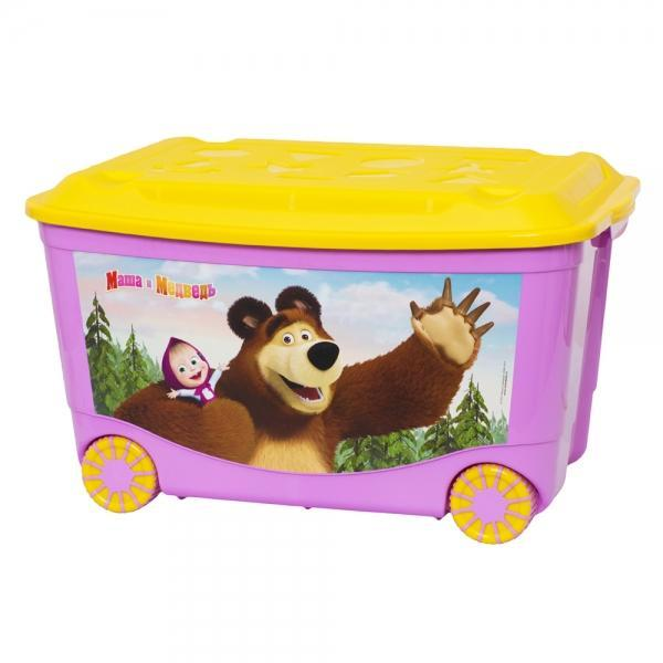 Ящик для игрушек Маша и Медведь 580х390х335мм. С13794С12068_нежно-розовый, желтыйВместительный легкий ящик с яркой крышкой для хранения игрушек или одежды удобно разместится в комнате ребенка. Ящик для игрушек декорирован с помощью современной технологии, которая позволяет выйти на новый уровень качества, где этикетка и товар выглядят как единое целое. Благодаря данной технологии этикетка надежно держится на изделии, легко переносит контакт с водой, жирами или другими жидкостями, а также устойчива к стиранию и прочим механическим повреждениям, что является немаловажным в быту, при транспортировке или хранении на складах. Ящики легко штабелируются, как с закрытыми крышками, так и без них, что позволяет рационально использовать пространство. Ящик безопасен даже для самых маленьких детей, благодаря своей конструкции с закругленными углами. Помыть ящик не составляет никакого труда — пластик легко моется и вытирается от пыли, что особенно важно, когда ребенок совсем еще маленький. Ящики производятся из экологически чистого сырья — это необходимо для здоровья ребенка.