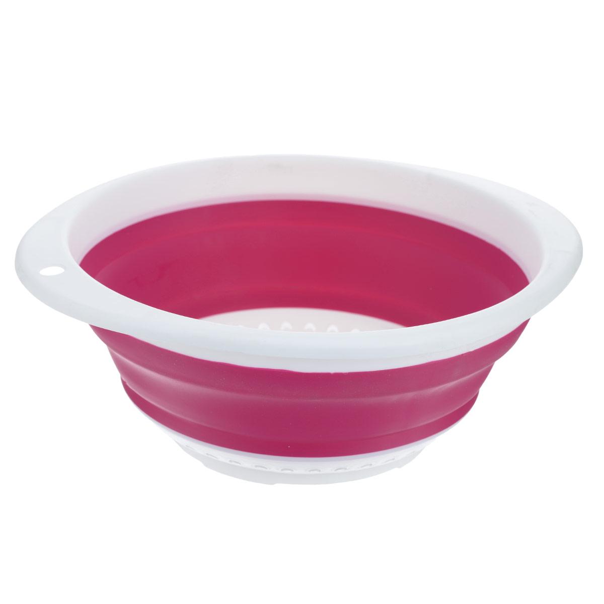 Дуршлаг складной Oriental Way, цвет: белый, розовый, 30 см х 27 см642792Складной дуршлаг Oriental Way станет полезным приобретением для вашей кухни. Он изготовлен из высококачественного пищевого силикона и пластика. Дуршлаг оснащен двумя удобными ручками. Одна ручка снабжена специальным отверстием для подвешивания. Изделие прекрасно подходит для процеживания, ополаскивания и стекания макарон, овощей, фруктов. Дуршлаг компактно складывается, что делает его удобным для хранения.Можно мыть в посудомоечной машине.Размер (по верхнему краю): 30 см х 27 см.Внутренний диаметр: 24 см.Максимальная высота: 10,5 см.Минимальная высота: 3,5 см.