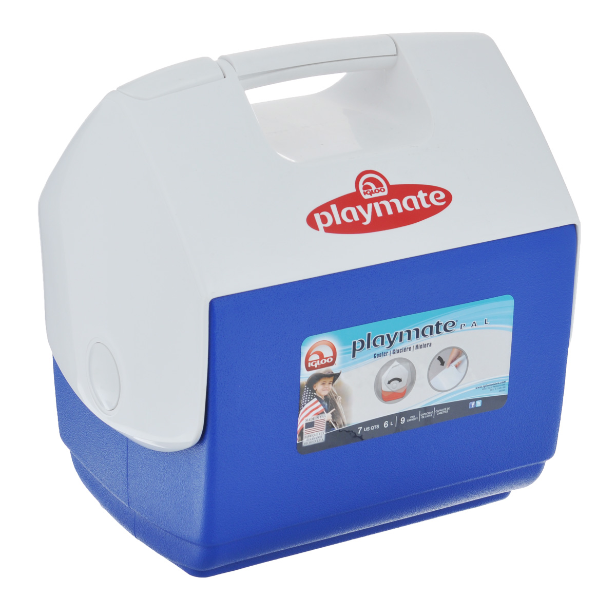 Изотермический контейнер Igloo Playmate Pal, цвет: синий, белый, 6 лС11045Легкий и прочный изотермический контейнер Igloo Playmate Pal, изготовленный из высококачественного пластика, предназначен для транспортировки и хранения продуктов и напитков. Для поддержания температуры использовать с аккумуляторами холода.Особенности изотермического контейнера Igloo Playmate Pal: - оригинальный замок на верхней крышки Playmate-Realise для открывания одной рукой;- крышка распахивается, обеспечивая легкий доступ к содержимому; - фирменный дизайн Playmate; - защелка надежно фиксирует крышку; - UltraTherm изоляция корпуса и крышки сохраняет содержимое холодным; - эргономичный гладкий дизайн корпуса;- экологически чистые материалы.