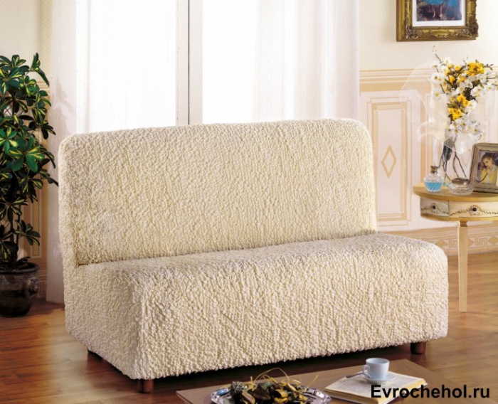 Чехол на 2-х местный диван Еврочехол Модерн, без подлокотников, цвет: шампань, 100-150 см74-0060Чехол на 2-х местный диван Еврочехол Модерн выполнен из 60% хлопка, 35% полиэстера, 5% эластана. Он идеально подойдет для тех, кто хочет защитить свою мебель от постоянных воздействий. Этот чехол, благодаря прочности ткани, станет идеальным решением для владельцев домашних животных. Кроме того, состав ткани гипоаллергенен, а потому безопасен для малышей или людей пожилого возраста. Такой чехол отлично впишется в любой интерьер. Еврочехол послужит не только практичной защитой для вашей мебели, но и приятно удивит вас мягкостью ткани и итальянским качеством производства. Растяжимость чехла по спинке: 100-150 см.