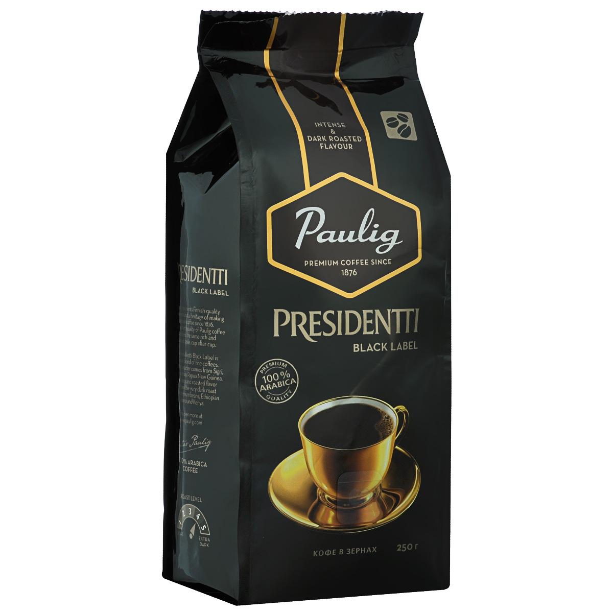 Paulig Presidentti Black Label кофе в зернах, 250 г01850Paulig Presidentti Black Label – это премиальный темный кофе высочайшего качества. Редкие кофейные зерна из Папуа – Новой Гвинеи, которые называются «Сигри», дарят напитку яркий, насыщенный вкус. Изысканная горчинка во вкусе и богатый аромат достигаются благодаря специально отобранным кофейным зернам из Африки и сильной обжарке.