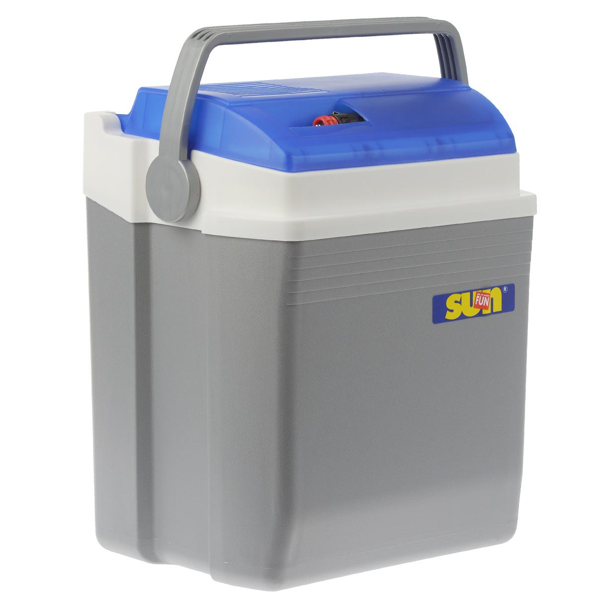 Автомобильный холодильник Ezetil E, цвет: голубой, серый, 21 лS28 DCМалогабаритный электрический холодильник Ezetil E предназначен для хранения и транспортировки предварительно охлажденных продуктов и напитков. Контейнер удобно использовать в салоне автомобиля в качестве портативного холодильника. Он легко поместится в любой машине! Особенности автомобильного холодильника Ezetil E:- Выполнен из прочного пластика высокого качества;- Работает от бортовой сети автомобиля 12В или от сети переменного тока 220В;- Внутри контейнера имеется вместительный отсек для хранения продуктов и напитков;- Подходит для хранения 1,5-литровых бутылок в вертикальном положении;- Крышка холодильника открывается одной рукой;- Встроенный вентилятор, изоляция из пеноматериала и отсек для хранения шнура питания от сети и штекера прикуривателя (12В) вмонтирован в крышку;- Дополнительный внутренний вентилятор в холодильной камере обеспечивает быстрое и равномерное охлаждение;- Мощная, не нуждающаяся в техобслуживании охлаждающая система Peltier гарантирует оптимальную производительность по холоду;- Работает под любым углом наклона;- Действенная изоляция с наполнителем из пеноматериала поддерживает в холодном состоянии пищу и напитки в течение длительного времени, в том числе и без подачи электроэнергии;- Специальная уплотнительная резинка в крышке уменьшает образование конденсата в холодильной камере;- Для удобной переноски автомобильный холодильник снабжен надежной пластиковой ручкой.Такой компактный и вместительный холодильник послужит отличным аксессуаром для вашего автомобиля!Материал: пластик, металл, пеноматериал.Напряжение: 12B, 220В.