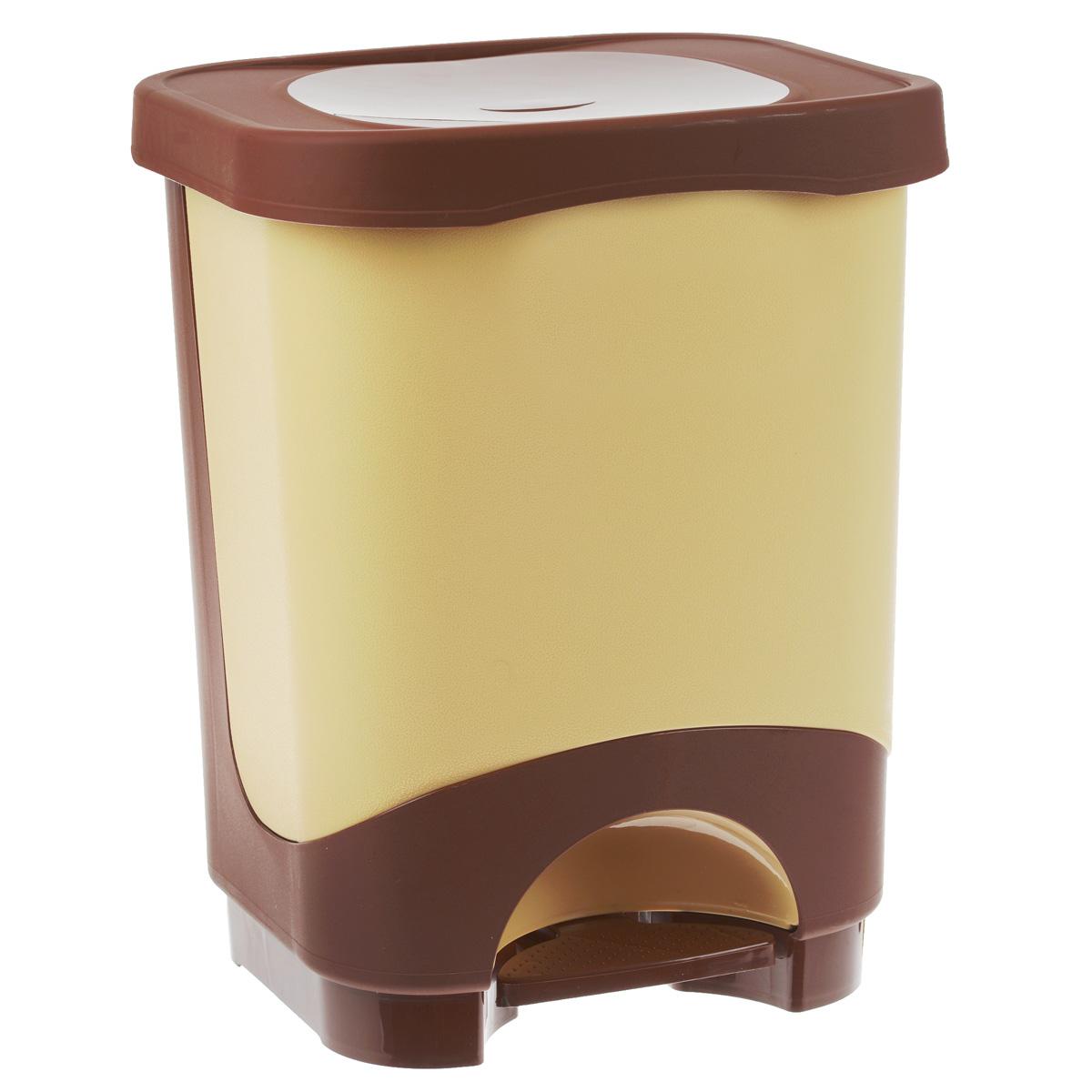 Мусорное ведро Эльфпласт Бинго, с педалью, цвет: бежевый, коричневый, 18 лPANTERA SPX-2RSМусорное ведро Эльфпласт Бинго изготовлено из прочного пластика. Ведро оснащено съемным контейнером, что позволит удобно выносить мусор и поддерживать чистоту. С помощью специальной педали не нужно открывать крышку руками, она поднимается сама. Ведро компактное, практичное и функциональное. Идеальный вариант для любых помещений: ванны, кухни, туалета.
