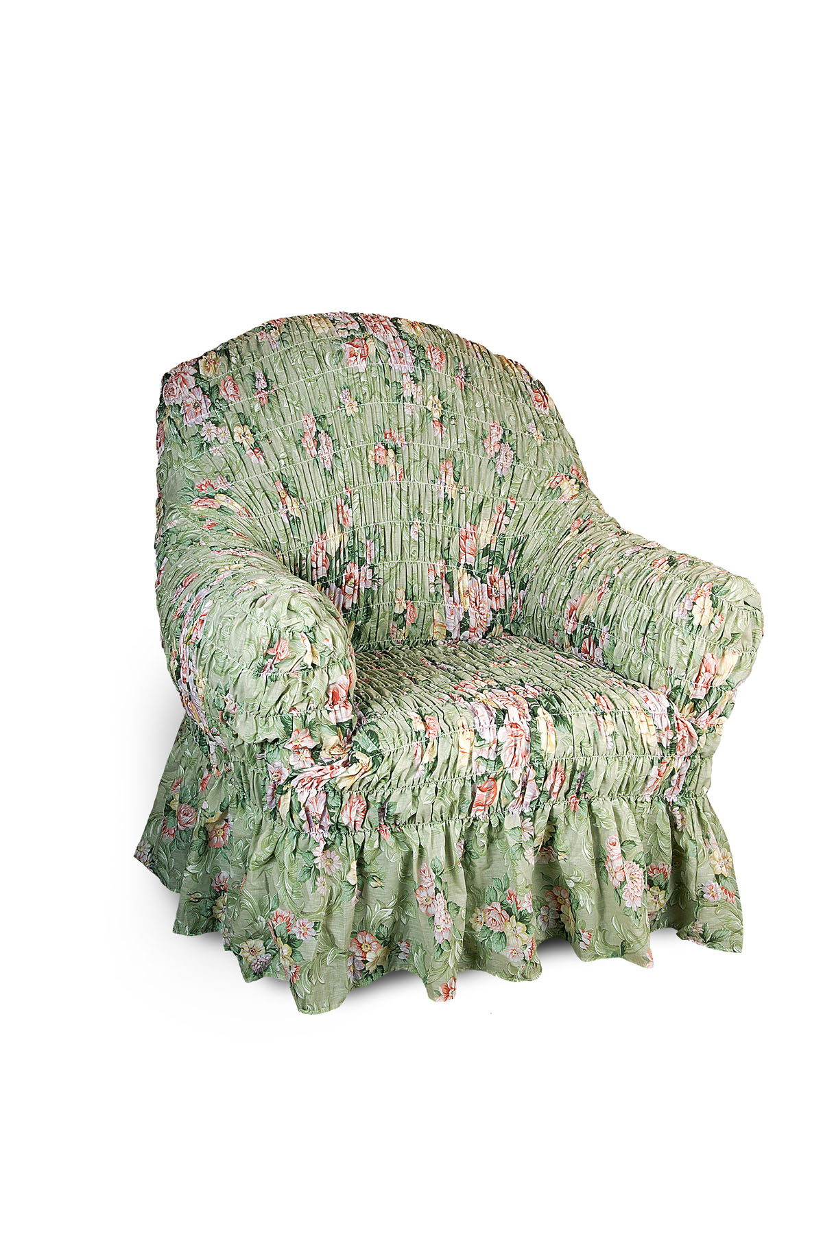 Чехол на кресло Еврочехол Фантазия. Феличита, 60-100 см1/1-1Чехол на кресло Еврочехол Фантазия. Феличита выполнен из 50% хлопка, 50% полиэстера. Он защитит вашу мебель от ежедневных воздействий. Натуральный состав ткани гипоаллергенен, а потому безопасен для малышей или людей пожилого возраста. Чехол в классическом цветовом исполнении - один из самых востребованных. Наличие оборки (юбки) по нижнему краю чехла придает мебели особое очарование, изюминку, привнося в интерьер помещения уют, свежесть, легкость и мягкость. Неважно, в каком стиле выполнена обстановка (это может быть классический интерьер, либо скандинавского стиля, или даже в колониальных мотивах), чехол чудесно дополнит стилистику любого интерьера - от ретро до современности. Гостиная, детская, кухня, прихожая или спальня - с таким чехлом любая комната наполнится нежностью и любовью. Растяжимость чехла по спинке (без учета подлокотников): 60-100 см.