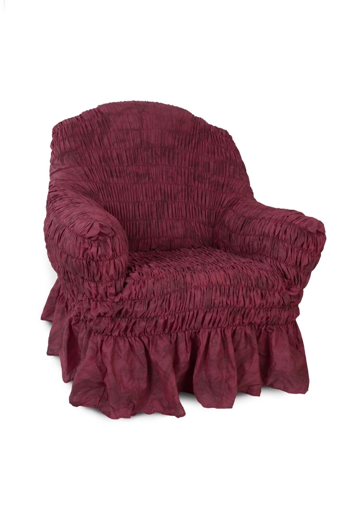 Чехол на кресло Еврочехол Фантазия, цвет: вишня, 60-100 смTHN132NЧехол на кресло Еврочехол Фантазия выполнен из 50% хлопка, 50% полиэстера. Он защитит вашу мебель от ежедневных воздействий. Натуральный состав ткани гипоаллергенен, а потому безопасен для малышей или людей пожилого возраста. Чехол в классическом цветовом исполнении - один из самых востребованных. Наличие оборки (юбки) по нижнему краю чехла придает мебели особое очарование, изюминку, привнося в интерьер помещения уют, свежесть, легкость и мягкость. Неважно, в каком стиле выполнена обстановка (это может быть классический интерьер, либо скандинавского стиля, или даже в колониальных мотивах), чехол чудесно дополнит стилистику любого интерьера - от ретро до современности. Гостиная, детская, кухня, прихожая или спальня - с таким чехлом любая комната наполнится нежностью и любовью. Растяжимость чехла по спинке (без учета подлокотников): 60-100 см.