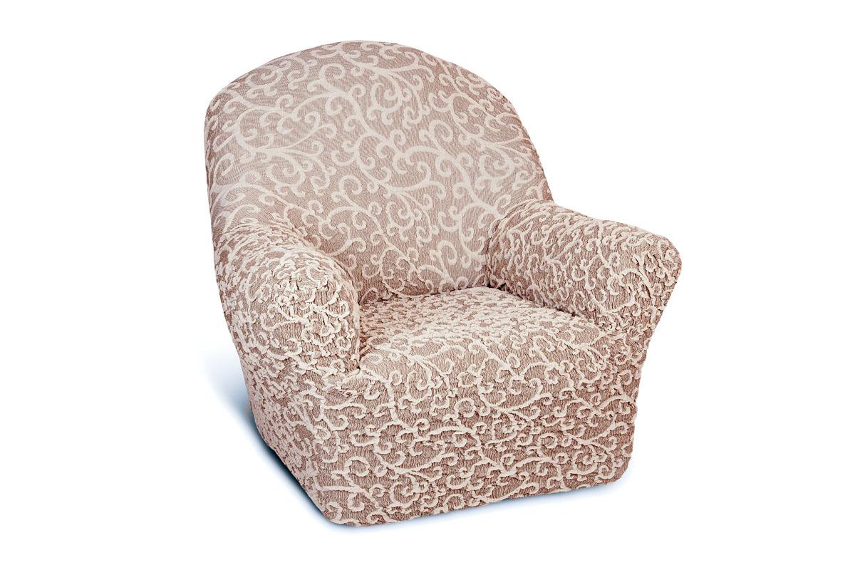 Чехол на кресло Еврочехол Жаккард, цвет: серый, светло-коричневый, 60-90 см74-0120Чехол на кресло Еврочехол Жаккард выполнен из 60% хлопка, 35% полиэстера, 5% эластана. Он особенно актуален для тех, кто хочет защитить свою мебель от постоянных воздействий. Этот чехол для мебели, благодаря прочности ткани, станет идеальным решением для владельцев домашних животных. Кроме того, натуральный состав ткани гипоаллергенен, а потому безопасен для малышей или людей пожилого возраста. Общая цветовая гамма чехла характеризуется мягкими, спокойными тонами. Такой чехол по достоинству оценят любители романтизма, ампира и других интерьерных стилей, отличающихся элегантностью, изысканностью и чувственностью. Гостиная, комната, кухня или детская - чехол на кресло Жаккард украсит любое помещение в вашем доме. А сторонники практичности могут быть уверены в том, что он прослужит 3-5 лет! Растяжимость чехла по спинке (без учета подлокотников): 60-90 см.