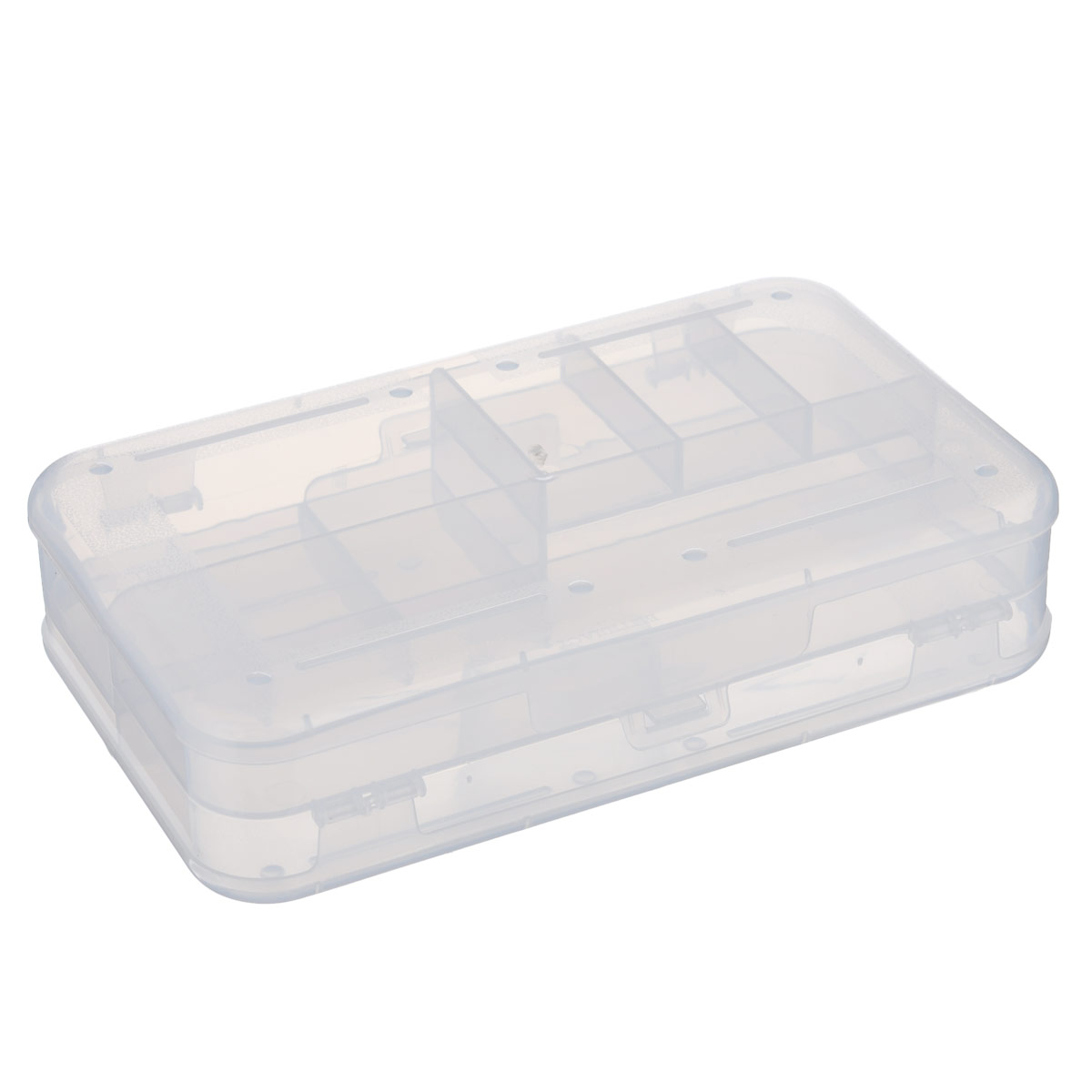Органайзер Бытпласт, двухсторонний, цвет: прозрачный, 22,5 х 13,5 х 5,3 см12723Органайзер  Бытпласт , выполненный из прочного пластика, предназначен для хранения различных мелких вещей. С каждой стороны органайзера находятся 3 маленьких, 1 средний и 1 большое отделения. Прозрачная поверхность позволяет видеть содержимое органайзера. По обеим сторонам органайзера имеются небольшие выступы, благодаря которым поверхность органайзера не царапается. Удобный и надежный замок-защелка обеспечивает надежное закрывание крышки. Органайзер легко моется и чистится.Размеры отделений:Размер большого отделения: 20,8 см х 5,8 см х 1,8 см;Размер среднего отделения: 10,3 см х 5,8 см х 2,6 см;Размер малого отделения: 3,3 см х 5,8 см х 1 см.
