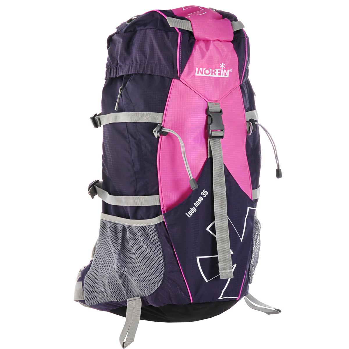 Рюкзак туристический Norfin Lady Rose, цвет: розовый, фиолетовый, 35 лNFL-40211Функциональный штурмовой рюкзак Norfin Lady Rose отлично подойдет для женщин и подростков. Благодаря многофункциональности данный рюкзак позволяет удобно и легко укладывать свои вещи.Особенности рюкзака:Поясной ременьПодвесная система A2 Air с усиленной рамойГрудная стяжкаВыход под питьевую системуВерхний и боковой входы в основное отделениеФронтальный карманБоковые карманы из сеткиБоковой карман на молнииВерхний клапан с внешним карманом Чехол-дождевик в кармане на дне.