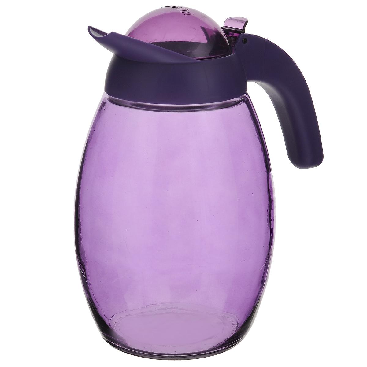 Кувшин Herevin с крышкой, цвет: фиолетовый, 1,6 л. 111311VT-1520(SR)Кувшин Herevin, выполненный из высококачественного прочного стекла, элегантно украсит ваш стол. Кувшин оснащен удобной ручкой и завинчивающейся пластиковой крышкой. Благодаря этому внутри сохраняется герметичность, и напитки дольше остаются свежими. Кувшин прост в использовании, достаточно просто наклонить его и налить ваш любимый напиток. Цветная крышка оснащена откидным механизмом для более удобного заливания жидкостей. Изделие прекрасно подойдет для подачи воды, сока, компота и других напитков. Кувшин Herevin дополнит интерьер вашей кухни и станет замечательным подарком к любому празднику.Диаметр (по верхнему краю): 6 см.Высота кувшина (без учета крышки): 18,5 см.
