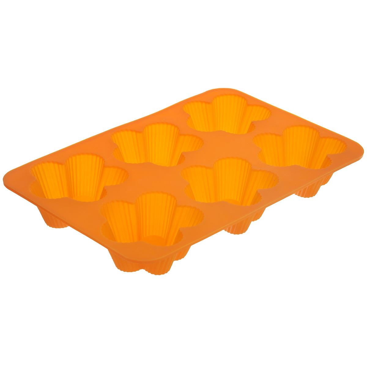 Форма для выпечки Marmiton Цветочки, 6 ячеек, цвет: оранжевый16112_оранжевыйФорма Marmiton Цветочки, изготовленная из высококачественного пищевого силикона, предназначена для приготовления выпечки, льда, конфет, желе, запеканок, шоколада, пудингов. На одном листе расположено 6 ячеек, выполненных в виде цветов.С такой формой вы всегда сможете порадовать своих близких оригинальной выпечкой.Силикон устойчив к фруктовым кислотам, к воздействию низких и высоких температур (выдерживает температуру от 240°C до - 40°C). Не взаимодействует с продуктами питания и не впитывает их запахи, как при нагревании, так и при заморозке. Обладает естественными антипригарными свойствами. Неприлипающая поверхность идеальна для духовки, морозильника, микроволновой печи и аэрогриля. Из формы легко и быстро можно достать выпечку. Силиконовая форма также практична при хранении за счет гибкости, ее можно смело мыть в посудомоечной машине.Общий размер формы: 25,5 см х 17,5 см х 3 см.Размер ячейки: 7,5 см х 7,5 см х 3 см.
