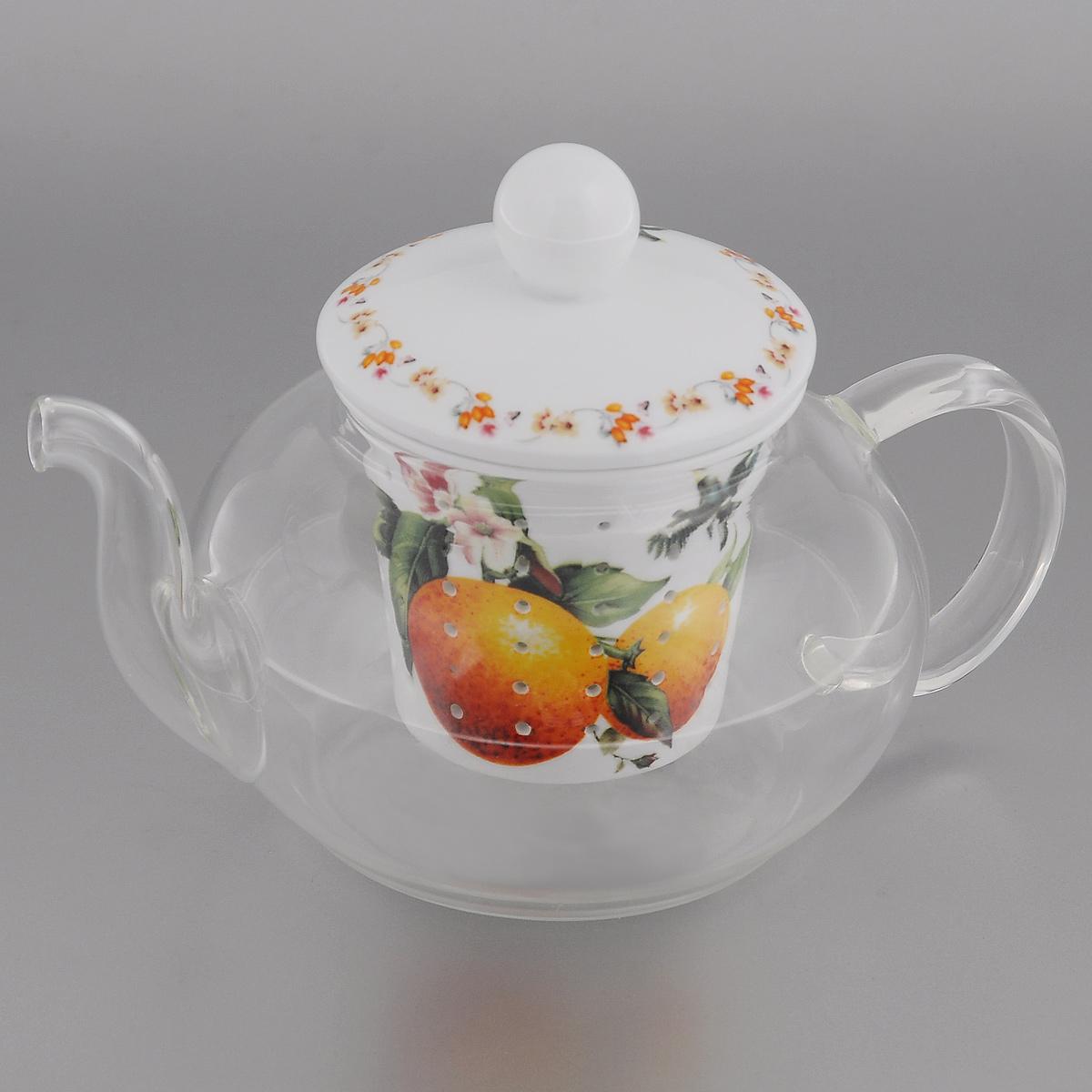 Чайник заварочный Lillo Апельсин, 600 мл115510Заварочный чайник Lillo Апельсин изготовлен из жаропрочного стекла, которое хорошо удерживает тепло, даже если стенки достаточно тонкие. Чайник снабжен крышкой и съемным фильтром для заварки, выполненными из керамики с изящным изображением апельсинов. Благодаря маленьким отверстиям фильтр предотвращает попадание чаинок и листочков в настой. Чайник сочетает в себе оригинальный дизайн и функциональность. Он поможет заварить вкусный и аромат чай, а стильный дизайн красиво дополнит сервировку стола к чаепитию. Нельзя мыть в посудомоечной машине. Можно использовать в микроволновой печи. Диаметр (по верхнему краю): 7 см.Высота чайника: 7,5 см.Высота фильтра: 6,5 см.