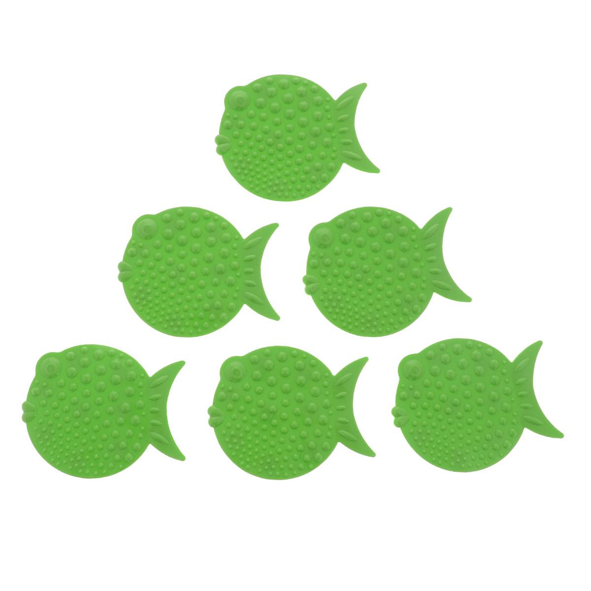 Набор мини-ковриков для ванной Перламутровая рыба, цвет: зеленый, 6 шт391602Набор Перламутровая рыба включает шесть мини-ковриков для ванной. Изготовлены из PVC (полимерные материалы). Коврики оснащены присосками, предотвращающими скольжение. Крепятся на дно ванны, также можно использовать как декор для плитки. Легко чистить.Комплектация: 6 шт.Материал: 100% полимерные материалы.Размер мини-коврика: 12 см х 9,5 см.