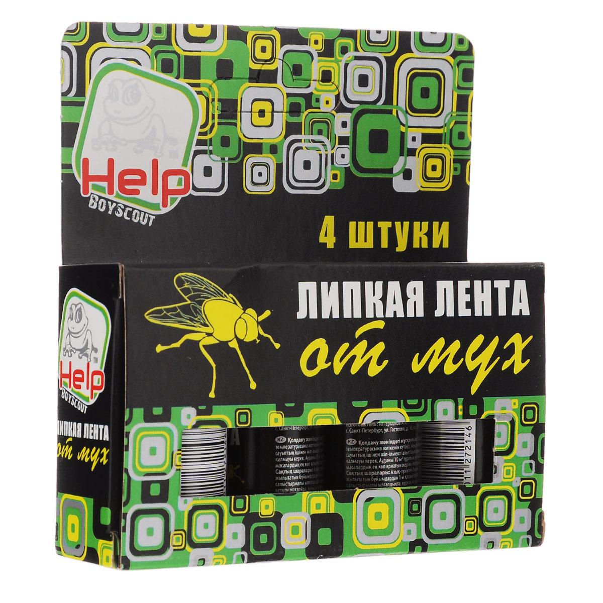 Липкая лента от мух BoyScout Help, 4 шт80241Липкая лента от мух BoyScout Help - это удобное и простое в использовании средство, которое надежно защитит вас и вашу семью от мух в закрытом помещении или значительно снизит их количество на открытом воздухе. Специальный аттрактант является привлекательной приманкой для мух, что делает липкие ленты Help наиболее эффективными. Не содержит веществ, опасных для людей и домашних животных. Для помещения площадью 10 м2 требуется 2-3 липучки.