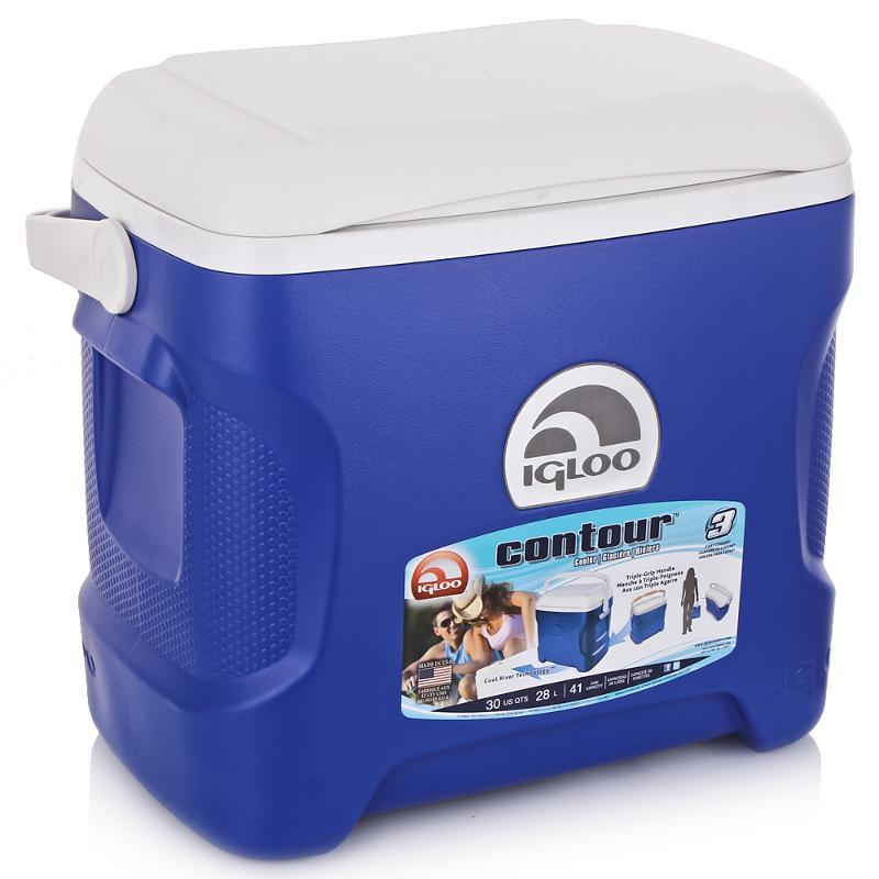 Изотермический контейнер Igloo Contour, цвет: синий, 28 л6.295-875.0Легкий и прочный изотермический контейнер Igloo Contour, изготовленный из высококачественного пластика, предназначен для транспортировки и хранения продуктов и напитков. Корпус гладкий, эргономичного дизайна, ударопрочный. Поддержание внутреннего микроклимата обеспечивается за счет двойной термоизоляционной прокладки из пены Ultra Therm, способной удерживать температуру внутри корпуса до 3-х дней. Для поддержания температуры рекомендуется использовать аккумуляторы холода (в комплект не входят). Контейнер имеет усиленную поворотную ручку с фиксацией и широко открывающуюся крышку для легкого доступа к продуктам. Крышка плотно и герметично закрывается. Литые ручки по бокам для удобства погрузки и разгрузки из багажника автомобиля. Такой контейнер можно взять с собой куда угодно: на отдых, пикник, на дачу, катание на лодке и т.д. Он имеет компактные размеры и не займет много места.