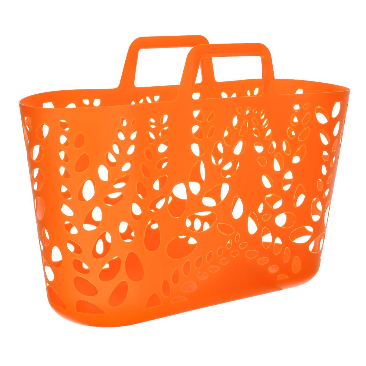 Корзина универсальная Econova, цвет: оранжевый, 55 см х 17 см х 39,5 см74-0120Универсальная корзина Econova, изготовленная из пластика, отлично подойдет для хранения различных бытовых вещей. Корпус корзины декорирован перфорацией. Благодаря двум ручкам ее легко переносить с места на место.