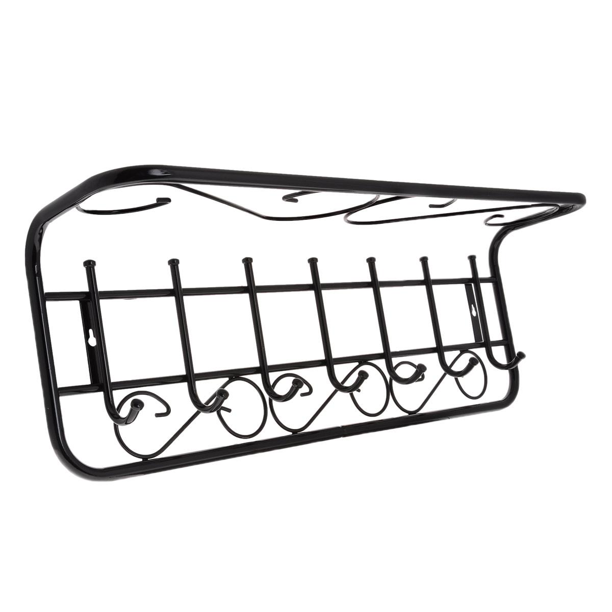 Вешалка настенная ЗМИ Ажур, с полкой, 7 крючковБрелок для ключейМеталлическая вешалка с полимерным покрытием ЗМИ Ажур оснащена семью крючками для одежды и полкой, на которую можно положить головные уборы или другие аксессуары. Крепится к стене при помощи двух шурупов (не входят в комплект).Вешалка ЗМИ Ажур идеально подходит для маленьких прихожих и ограниченных пространств.